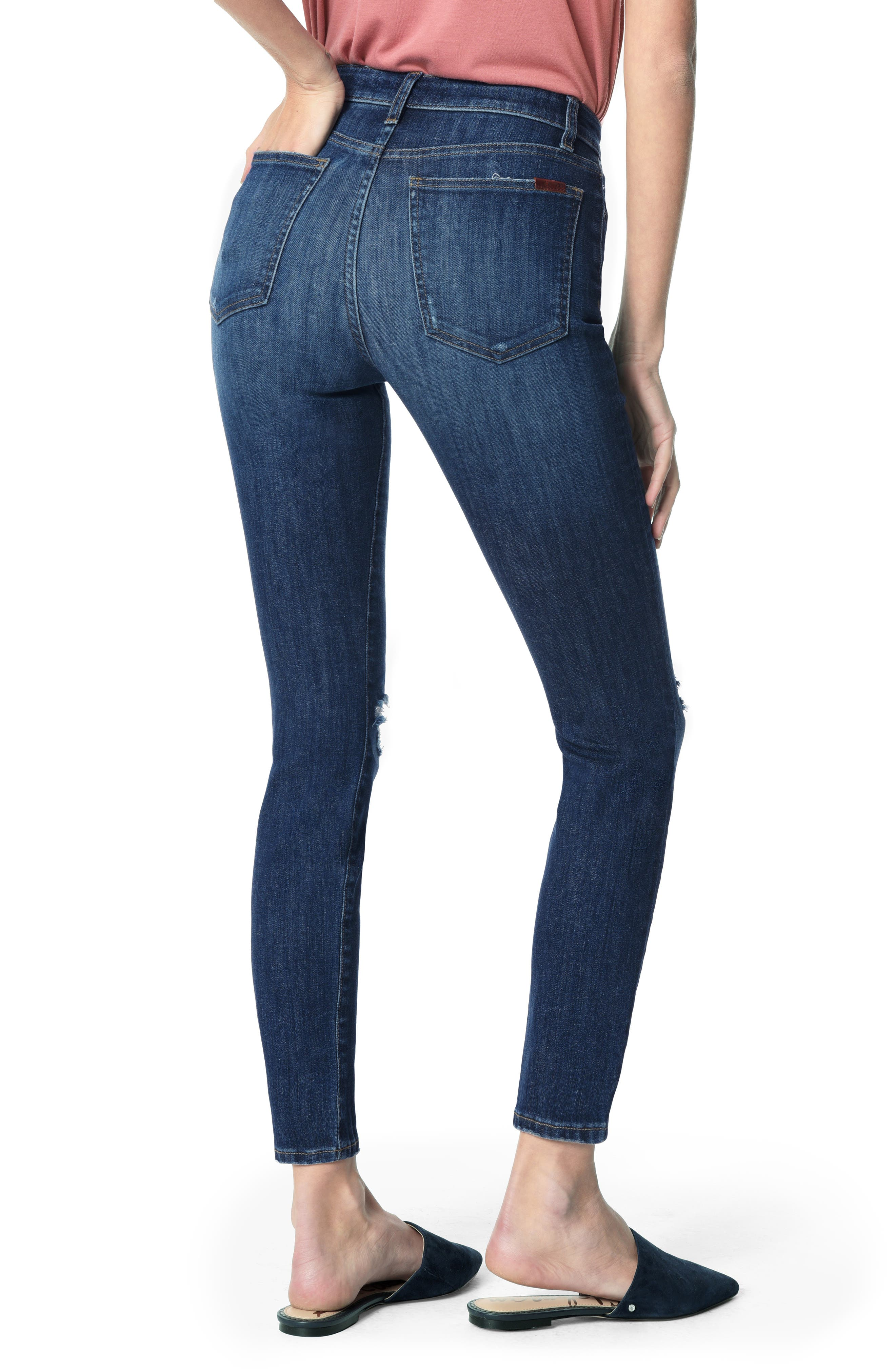 JOE'S, Charlie Ripped High Waist Ankle Skinny Jeans, Alternate thumbnail 2, color, ETTIE
