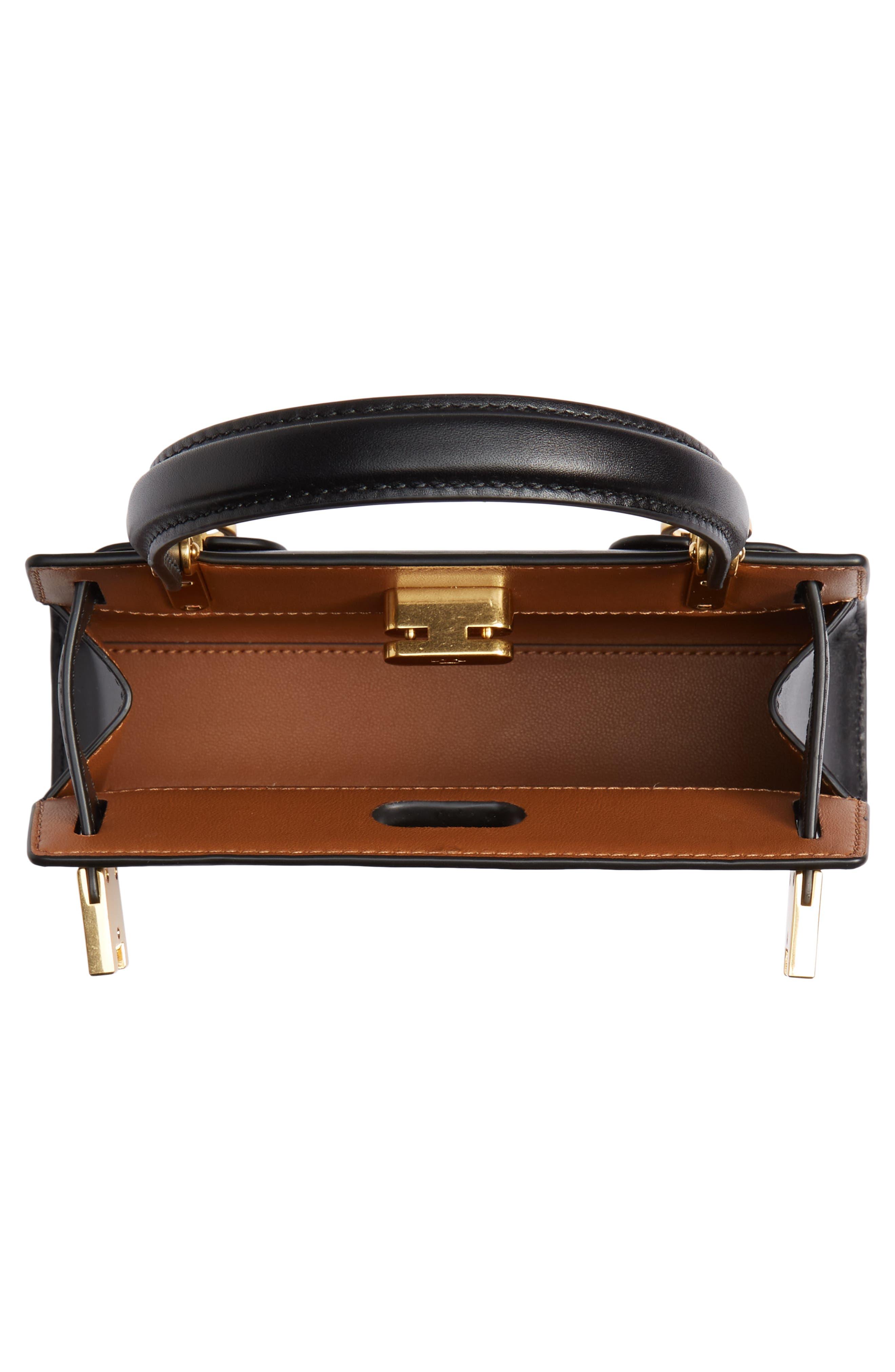 TORY BURCH, Mini Lee Radziwill Leather Bag, Alternate thumbnail 4, color, BLACK