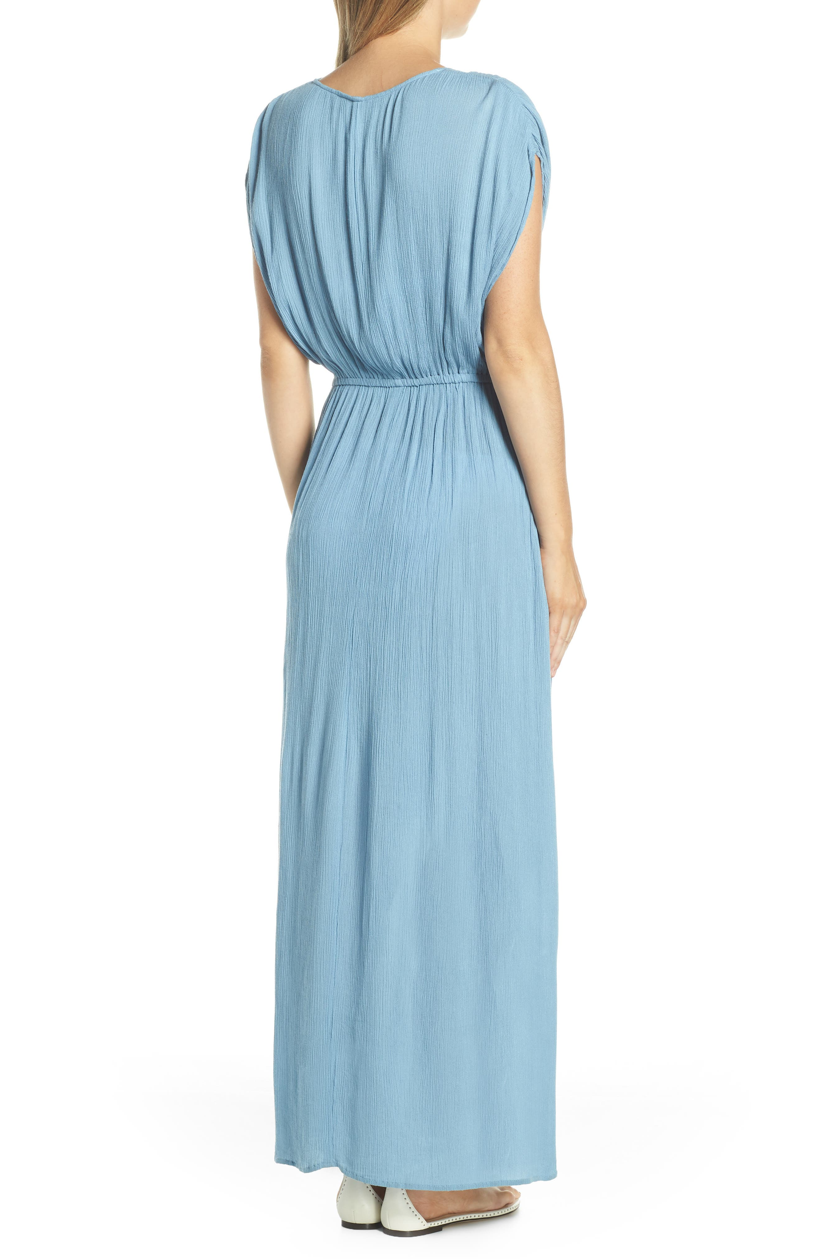 ELAN, Wrap Maxi Cover-Up Dress, Alternate thumbnail 2, color, WASHED BLUE