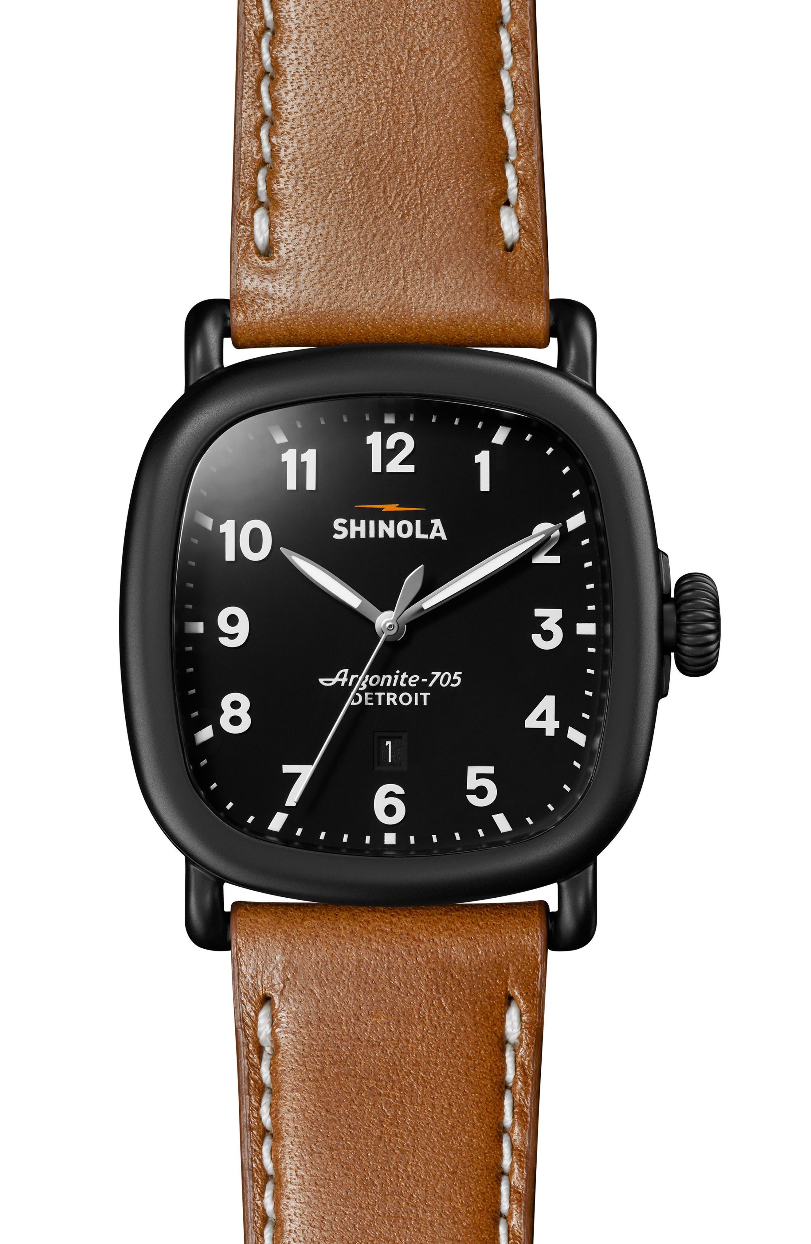 SHINOLA Guardian Leather Strap Watch, 41mm, Main, color, TAN/ BLACK