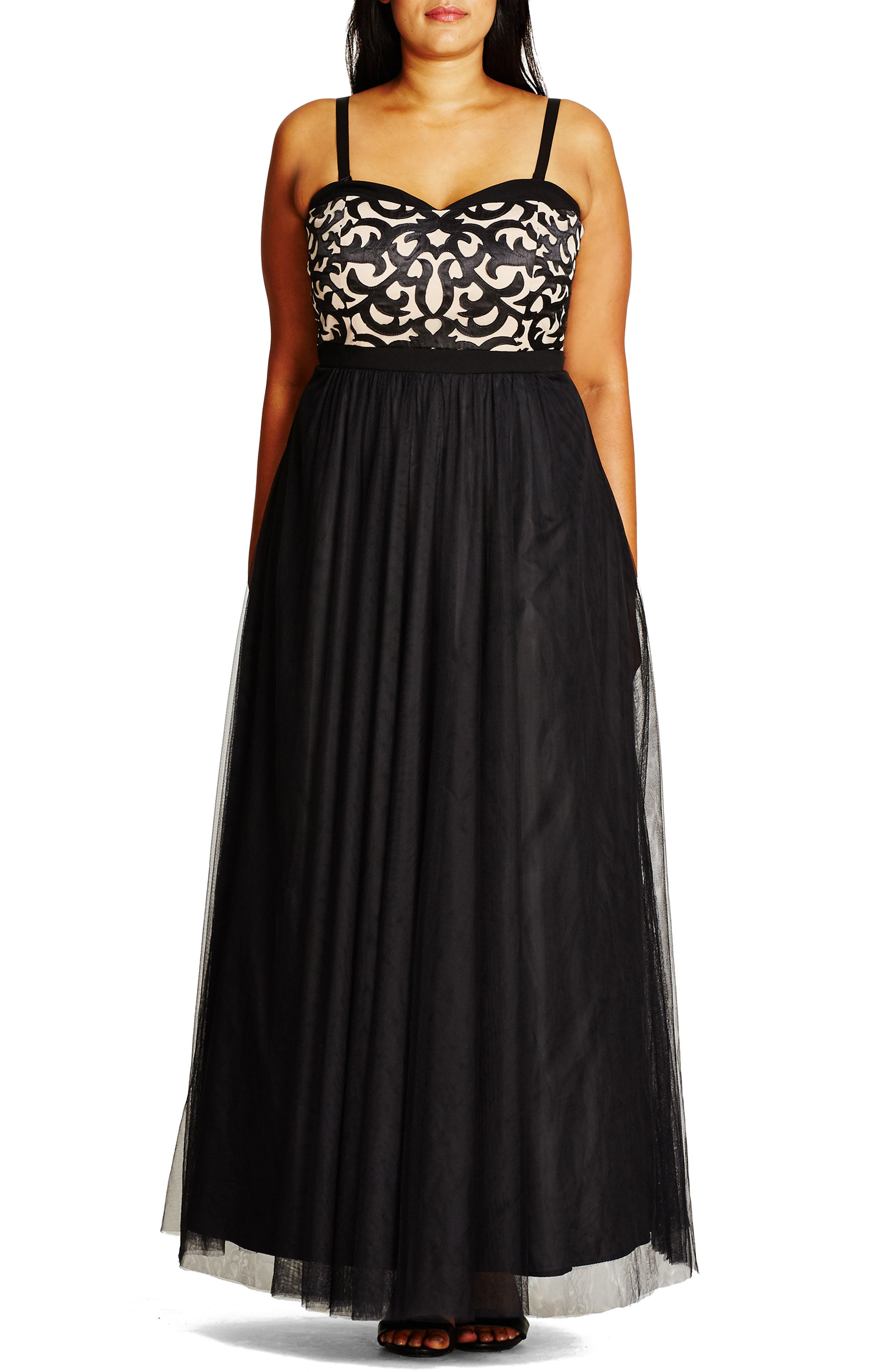 CITY CHIC, 'It Girl' Maxi Dress, Alternate thumbnail 4, color, BLACK