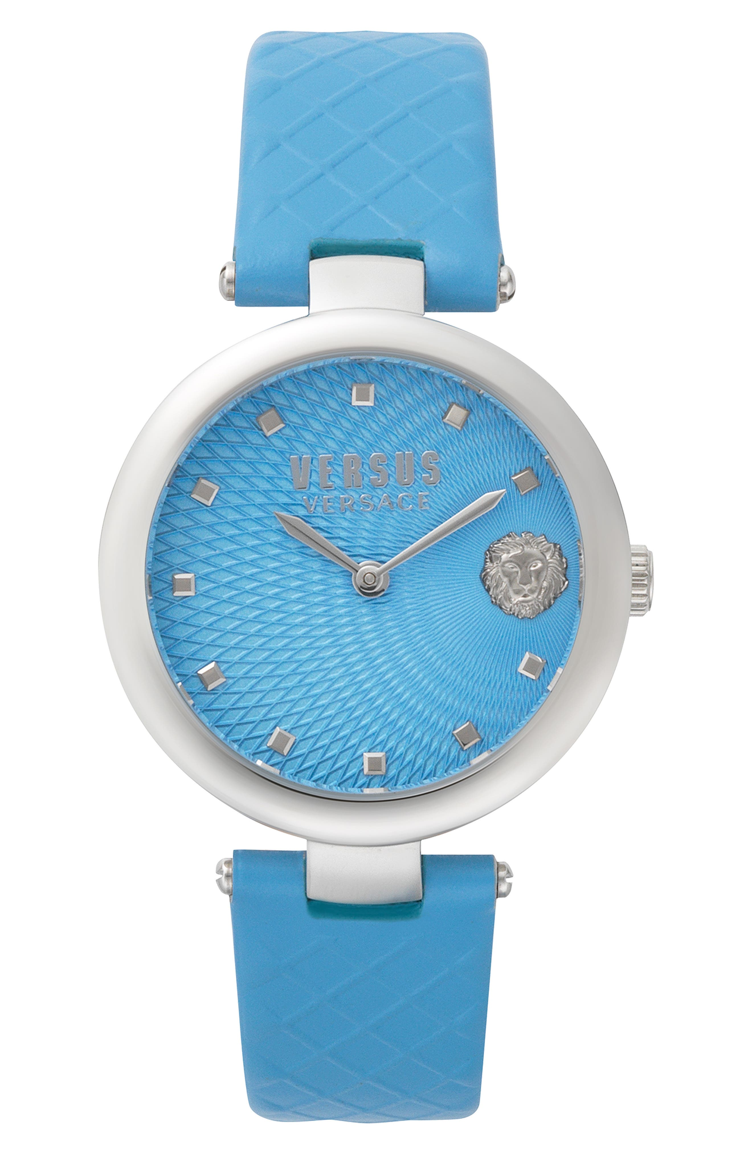 VERSUS VERSACE, Buffle Bay Leather Strap Watch, 36mm, Main thumbnail 1, color, BLUE/ SILVER