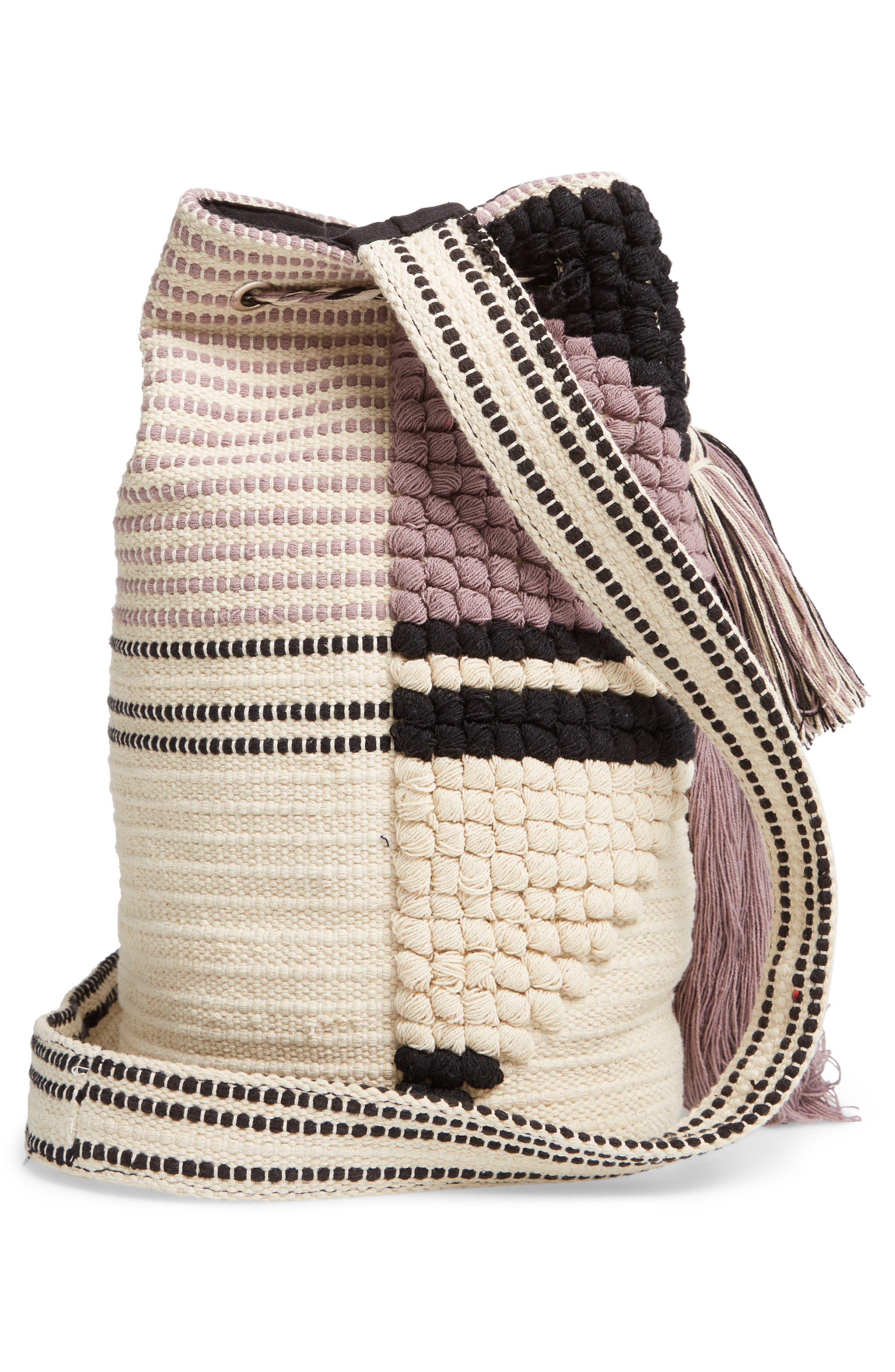 SOLE SOCIETY, Halay Woven Bucket Bag, Alternate thumbnail 6, color, 001