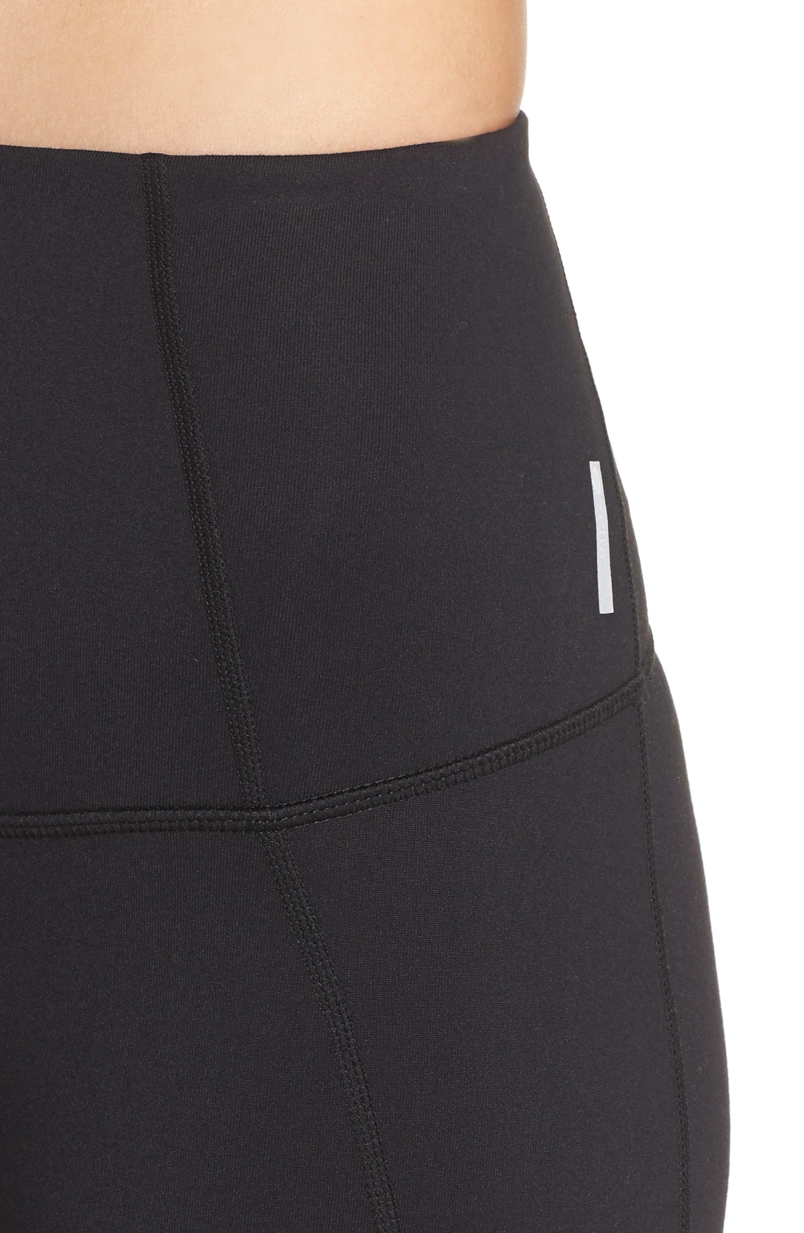 ZELLA, Hatha High Waist Bike Shorts, Alternate thumbnail 5, color, BLACK