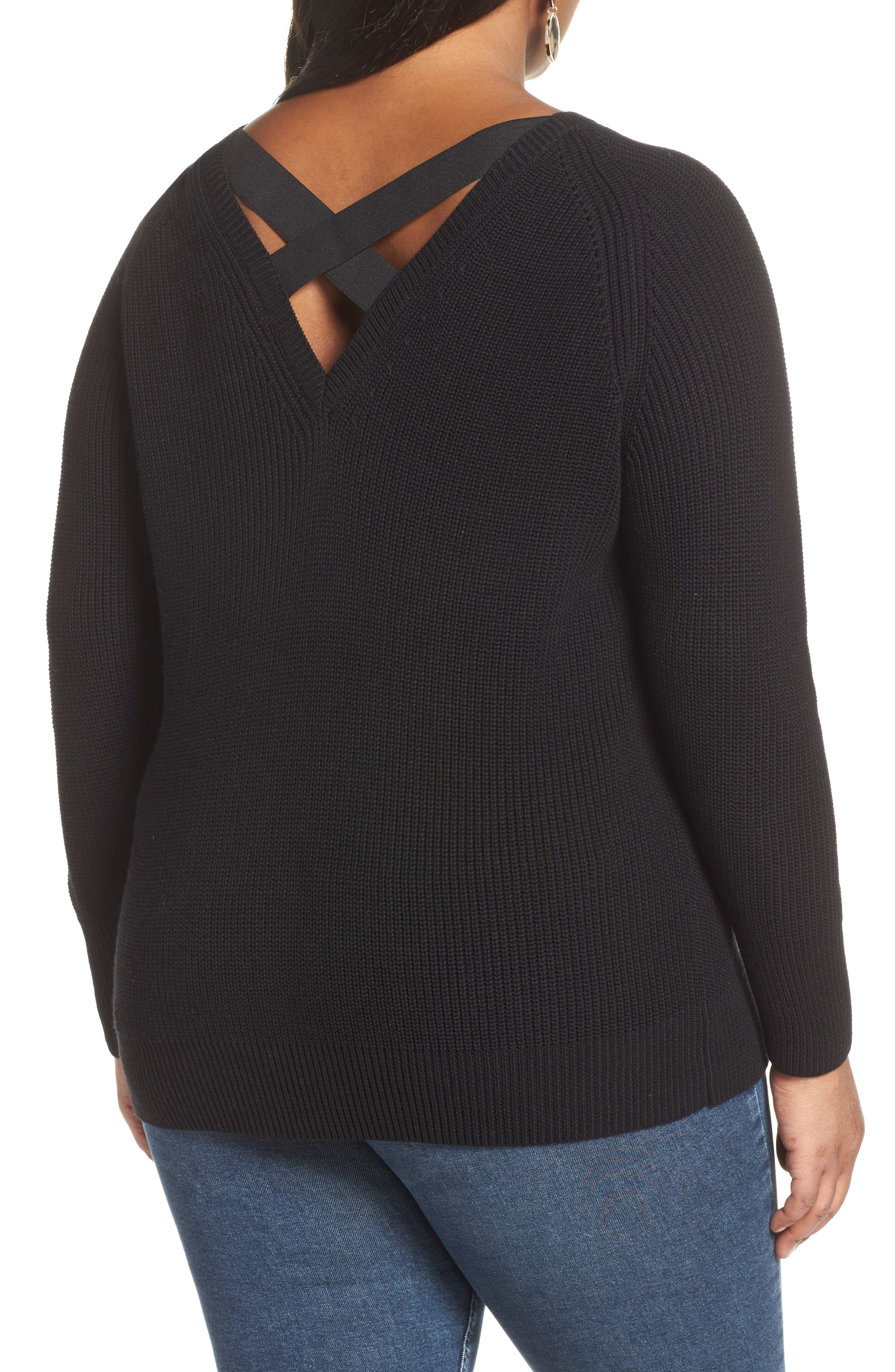 HALOGEN<SUP>®</SUP>, Cross Back Sweater, Alternate thumbnail 2, color, BLACK