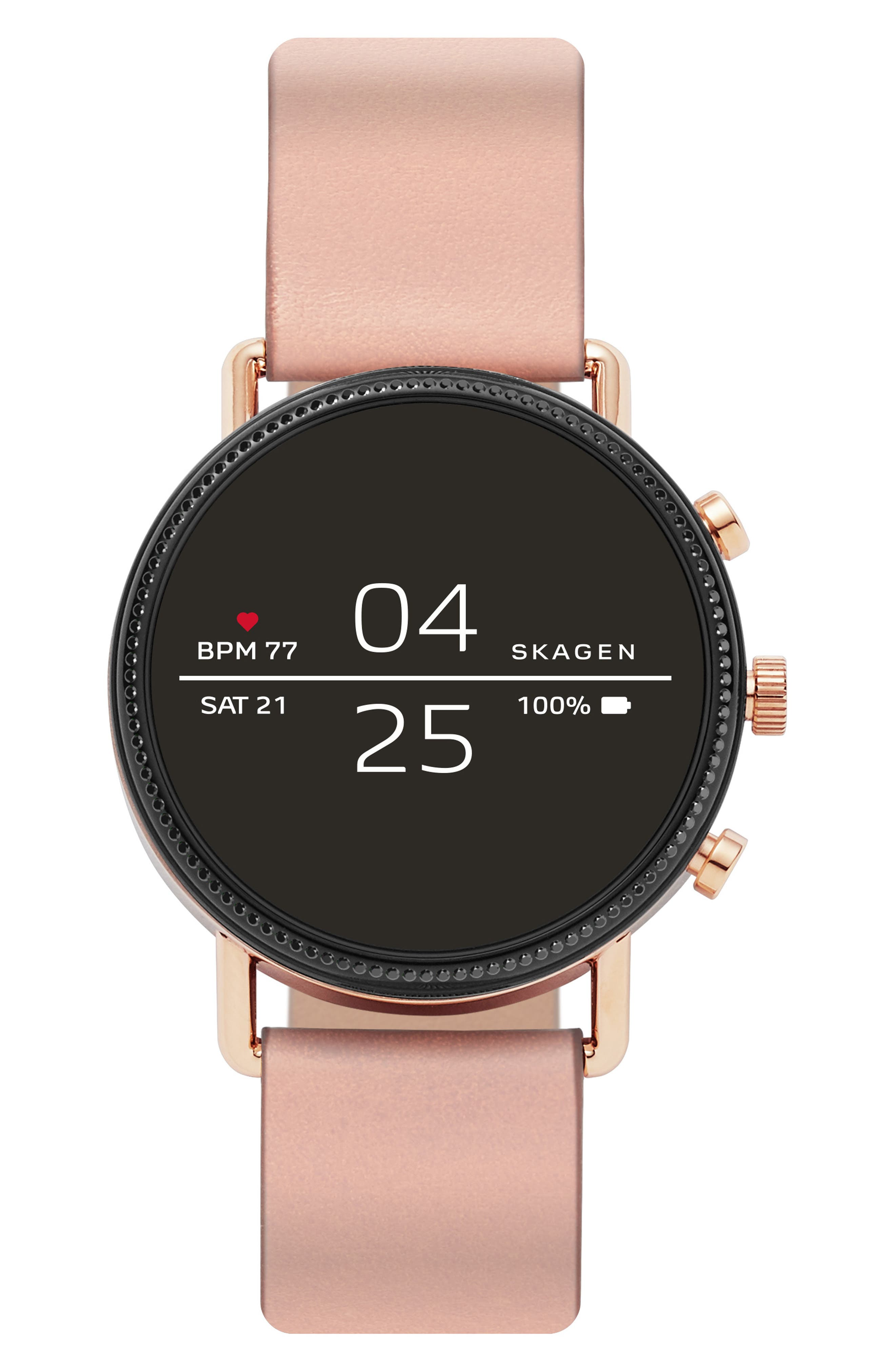 SKAGEN, Falster 2 Touchscreen Strap Smart Watch, 40mm, Alternate thumbnail 3, color, PINK/ BLACK/ ROSE GOLD