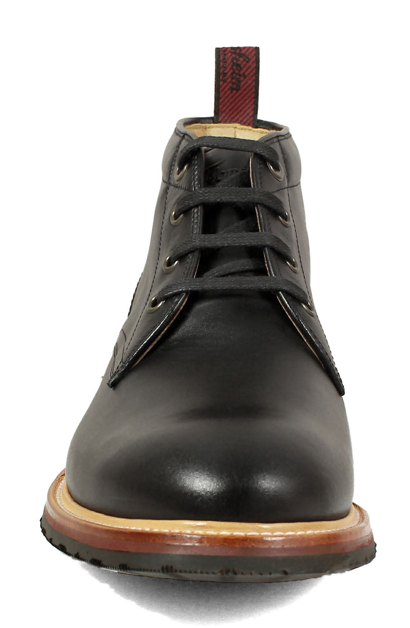 FLORSHEIM, Foundry Leather Boot, Alternate thumbnail 4, color, BLACK LEATHER