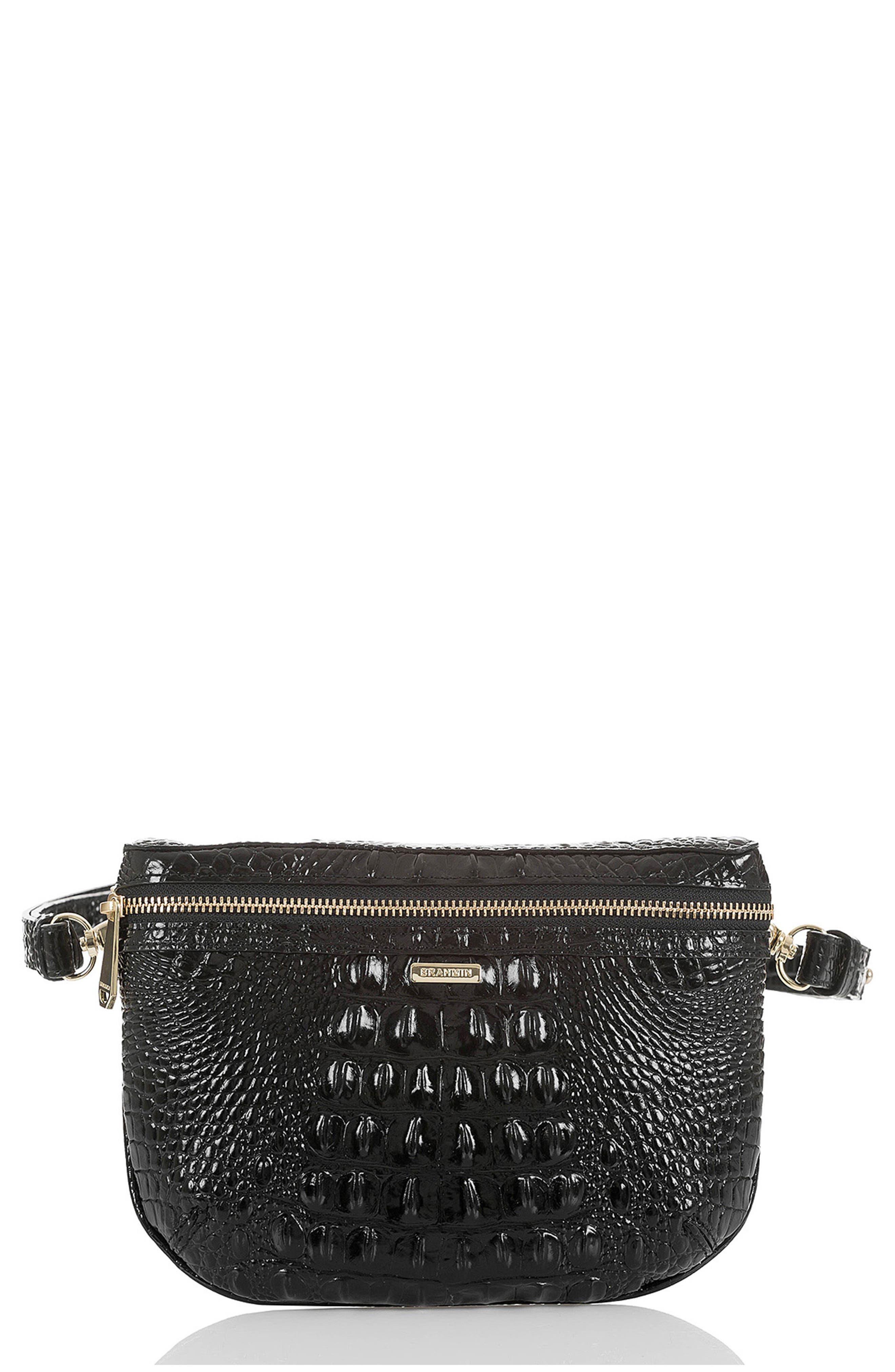 BRAHMIN, Croc Embossed Leather Belt Bag, Main thumbnail 1, color, BLACK