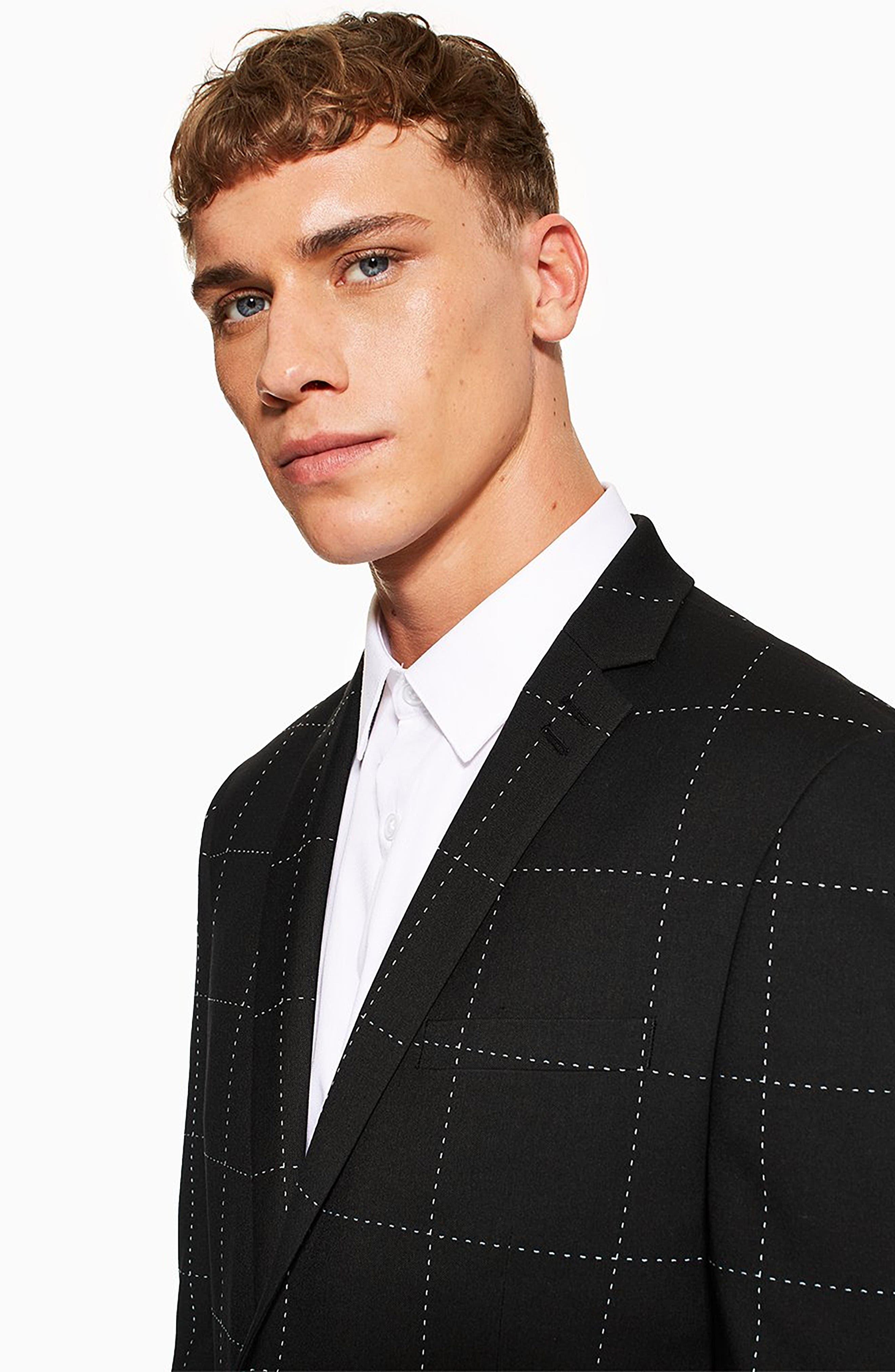 TOPMAN, Slim Fit Topstitch Suit Jacket, Alternate thumbnail 5, color, BLACK