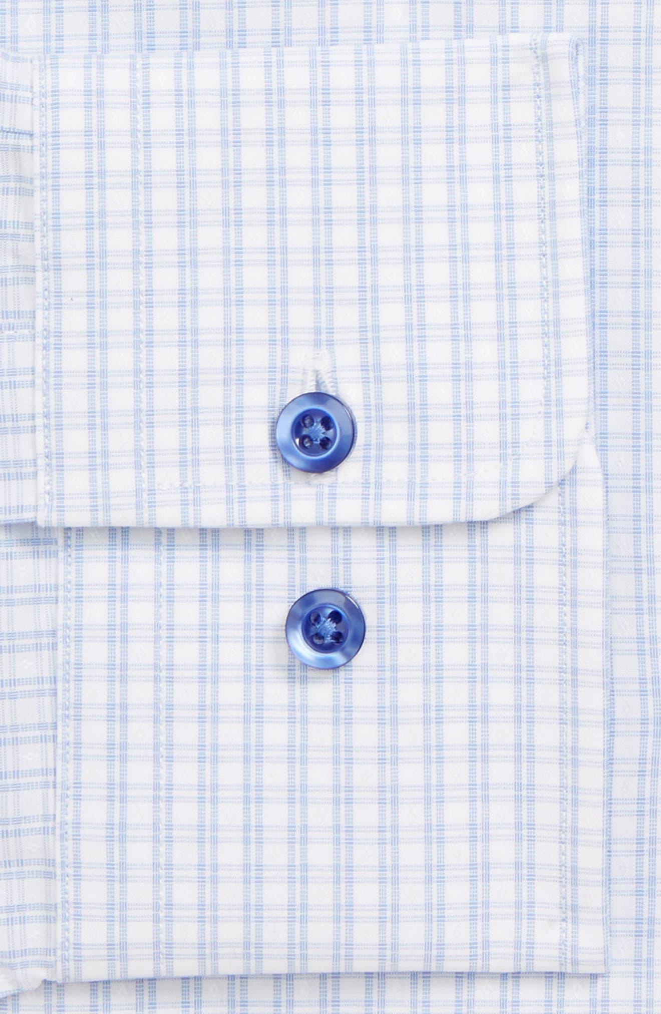 DAVID DONAHUE, Regular Fit Plaid Dress Shirt, Alternate thumbnail 2, color, BLUE