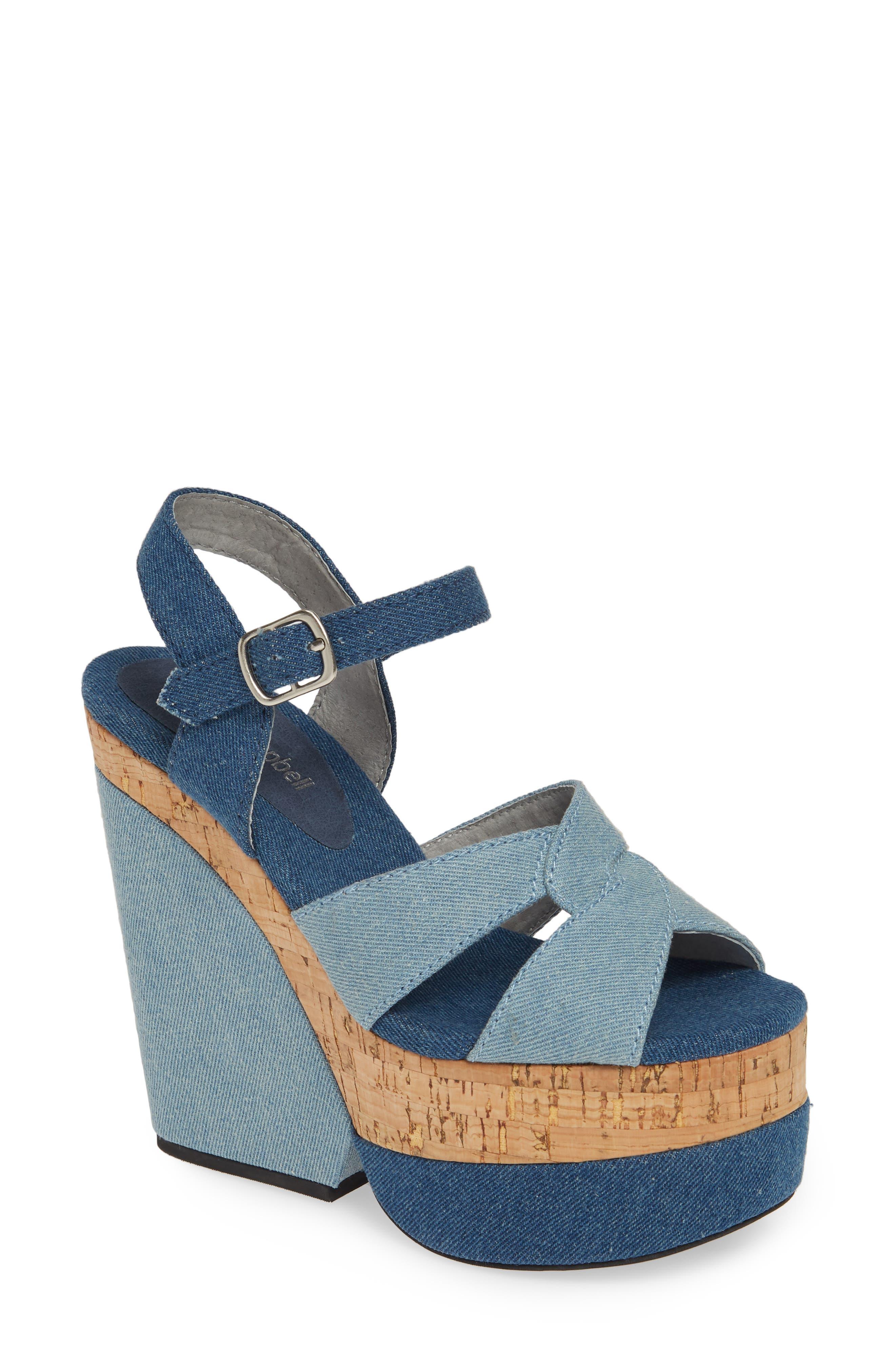 JEFFREY CAMPBELL, Wedge Platform Sandal, Main thumbnail 1, color, BLUE DENIM COMBO/ CORK