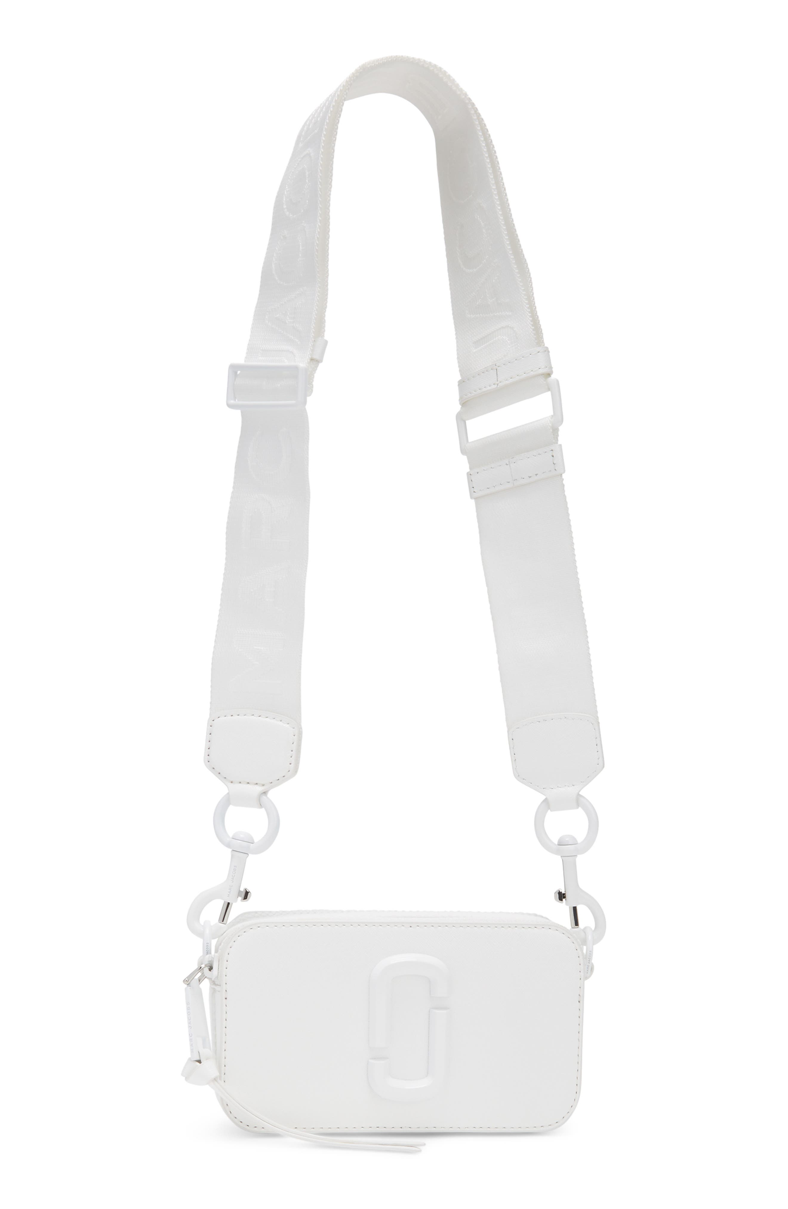 MARC JACOBS, Snapshot Leather Crossbody Bag, Alternate thumbnail 4, color, MOON WHITE