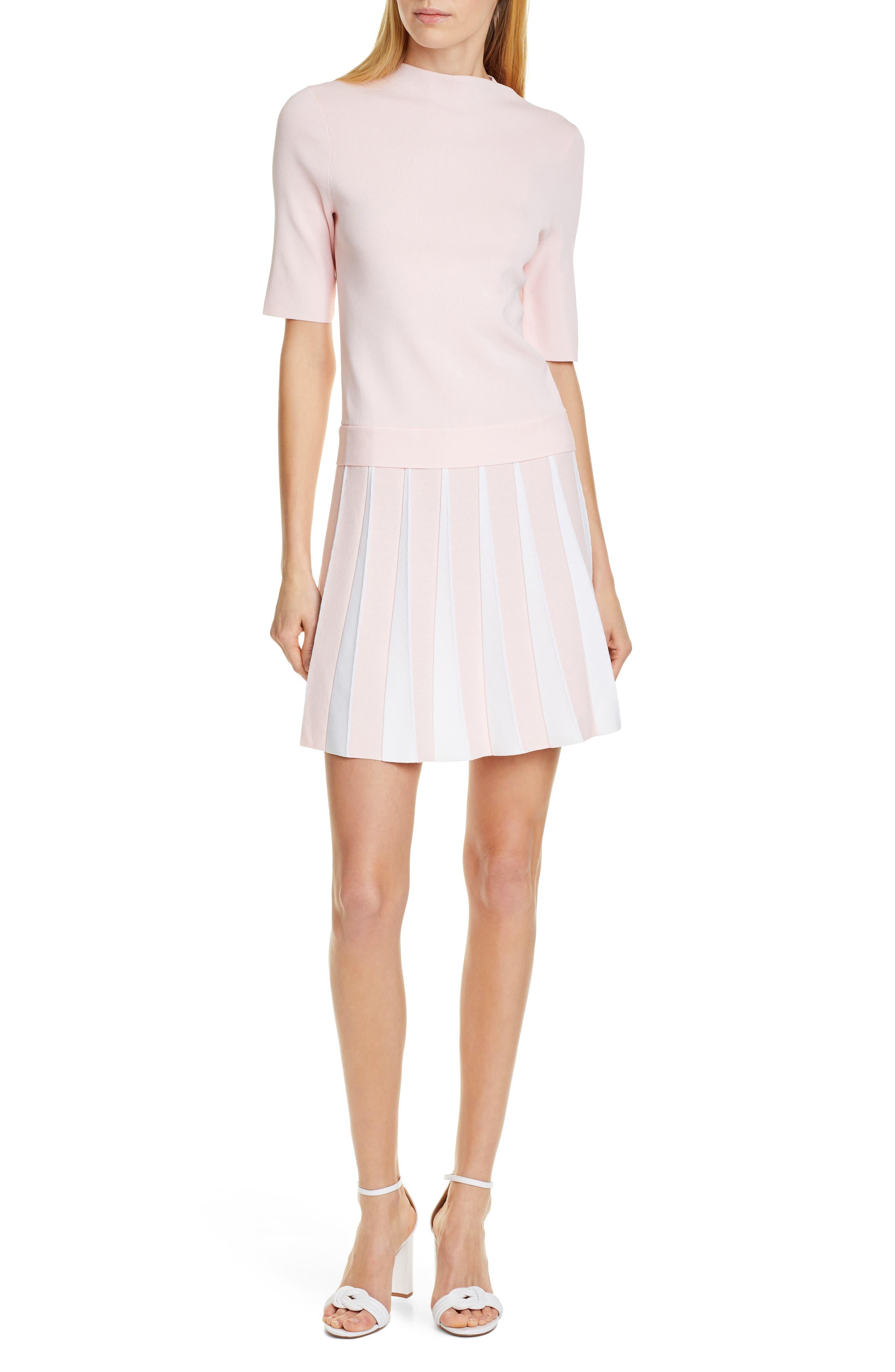 Ted Baker London Hethia Pleat Knit Dress, Pink