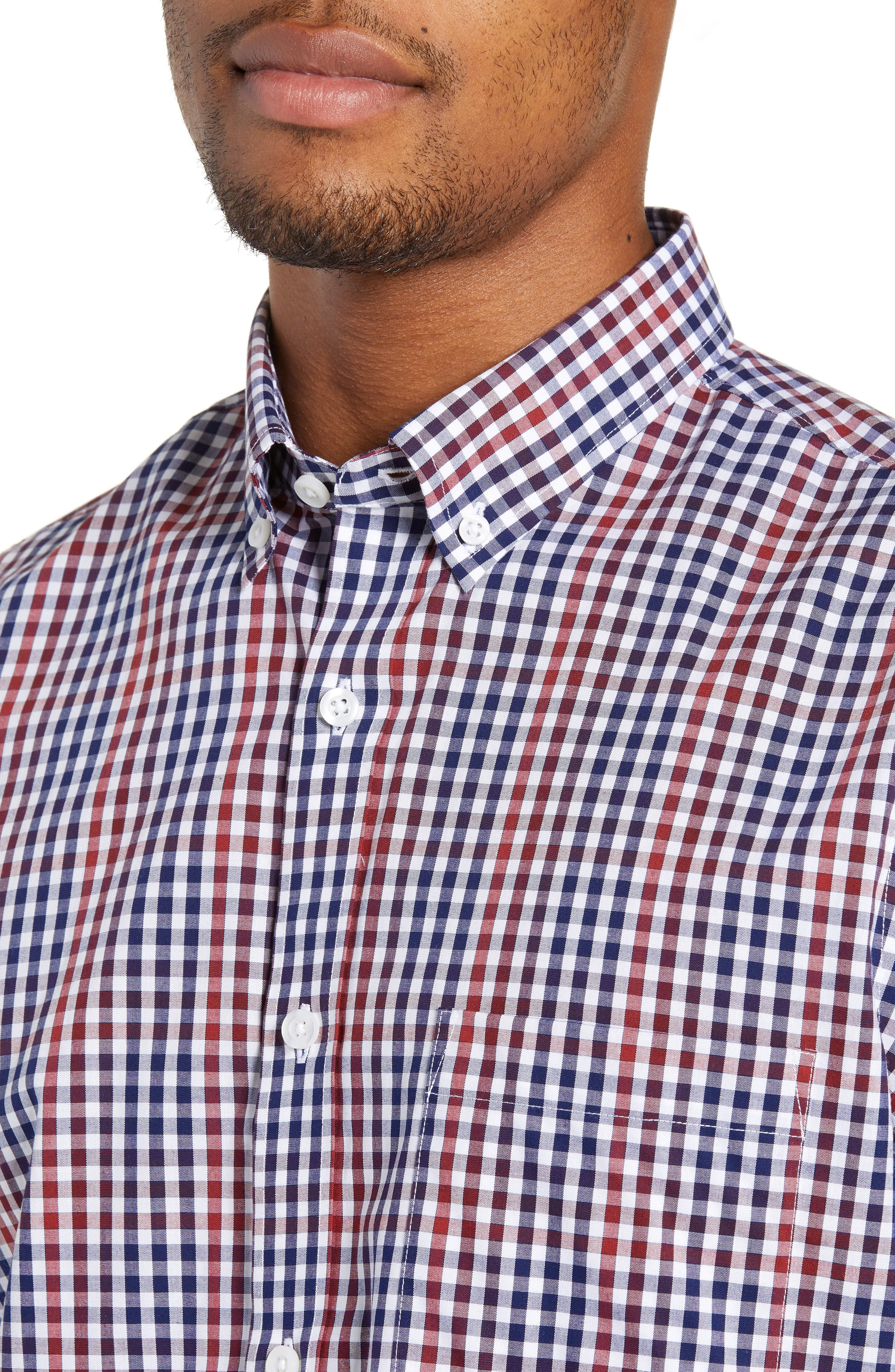 NORDSTROM MEN'S SHOP, Slim Fit Non-Iron Gingham Sport Shirt, Alternate thumbnail 4, color, 610