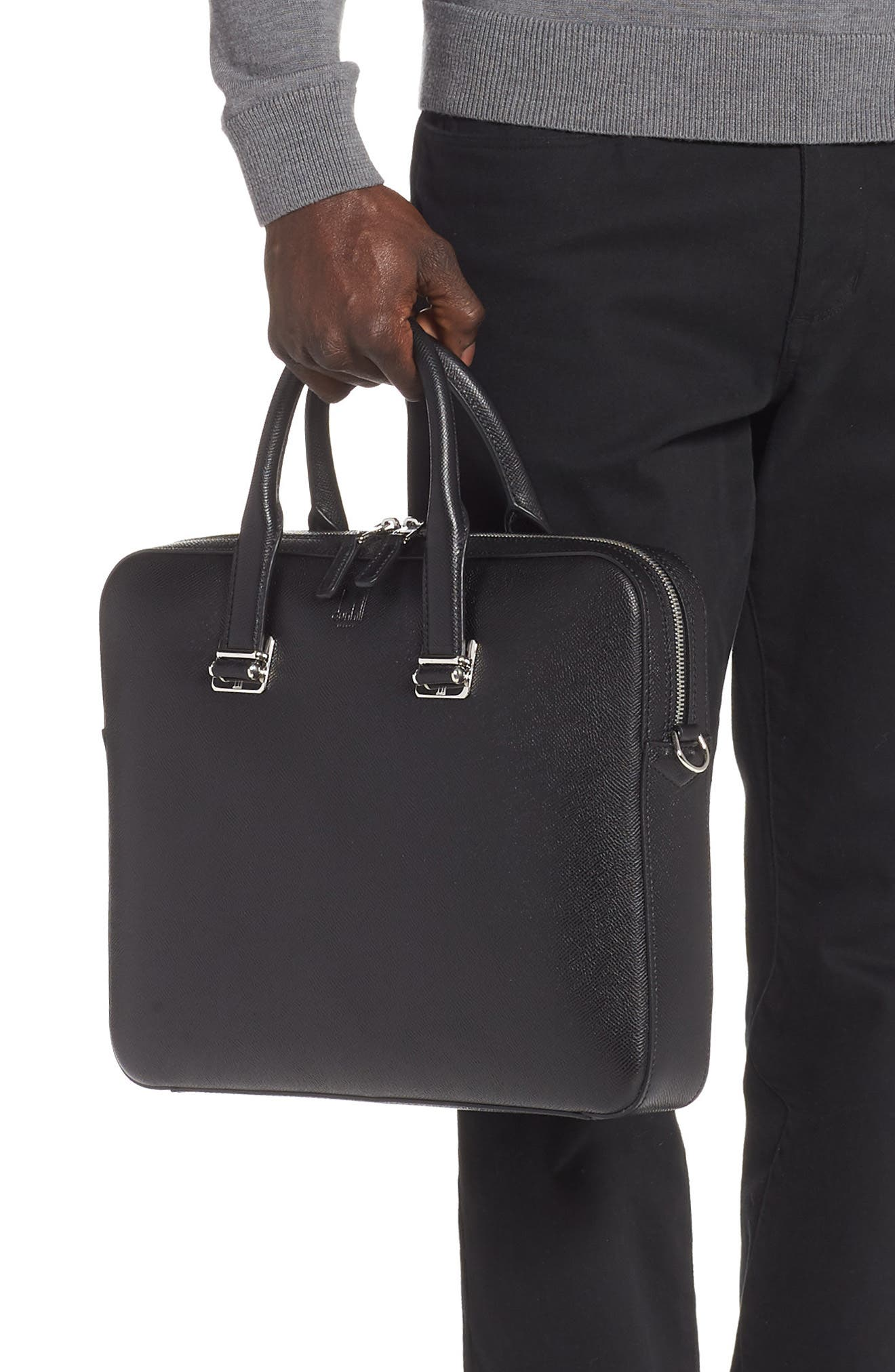 DUNHILL, Cadogan Leather Single Document Case, Alternate thumbnail 2, color, BLACK