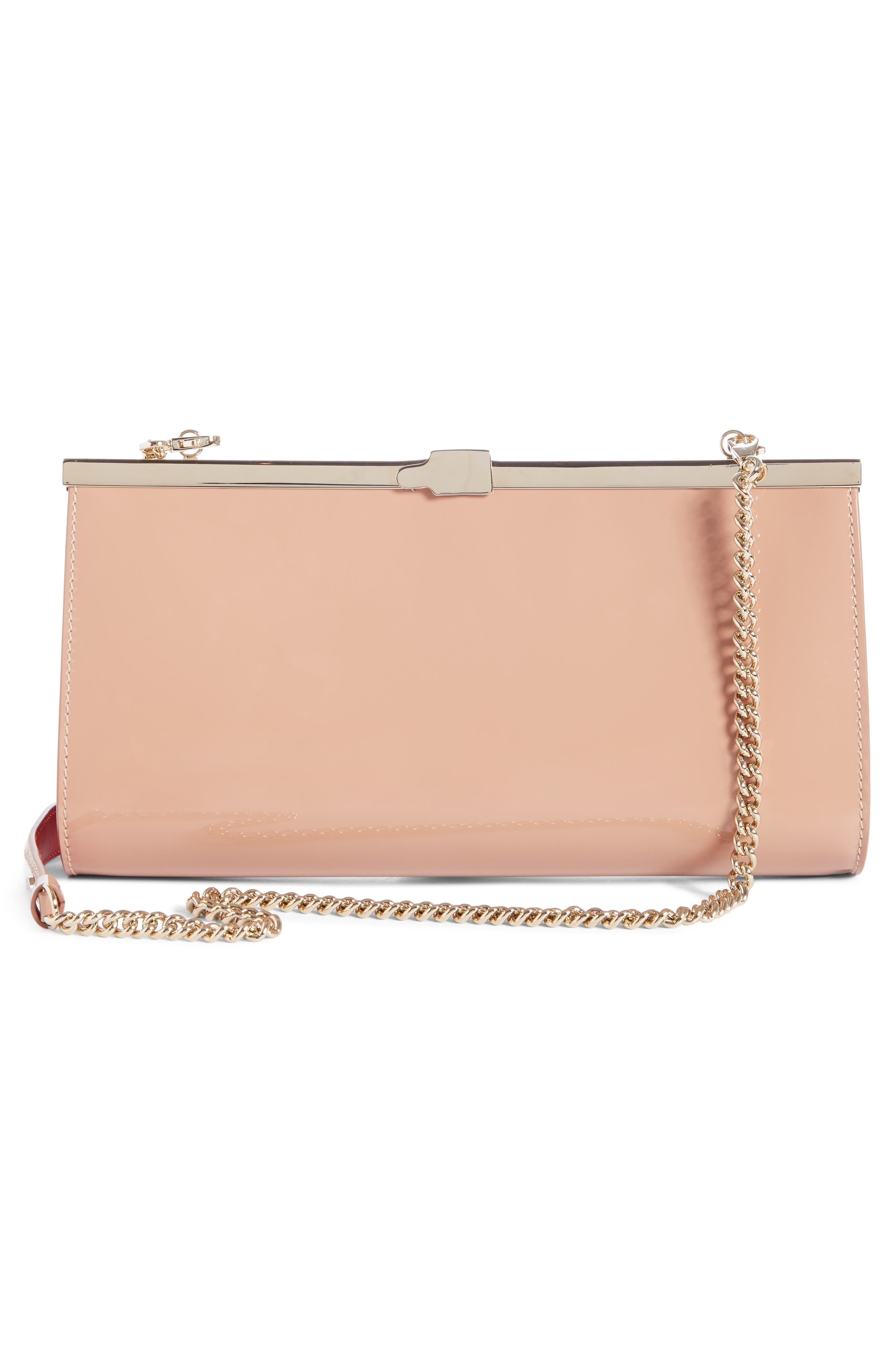 CHRISTIAN LOUBOUTIN, Palmette Patent Leather Frame Clutch, Alternate thumbnail 2, color, NUDE