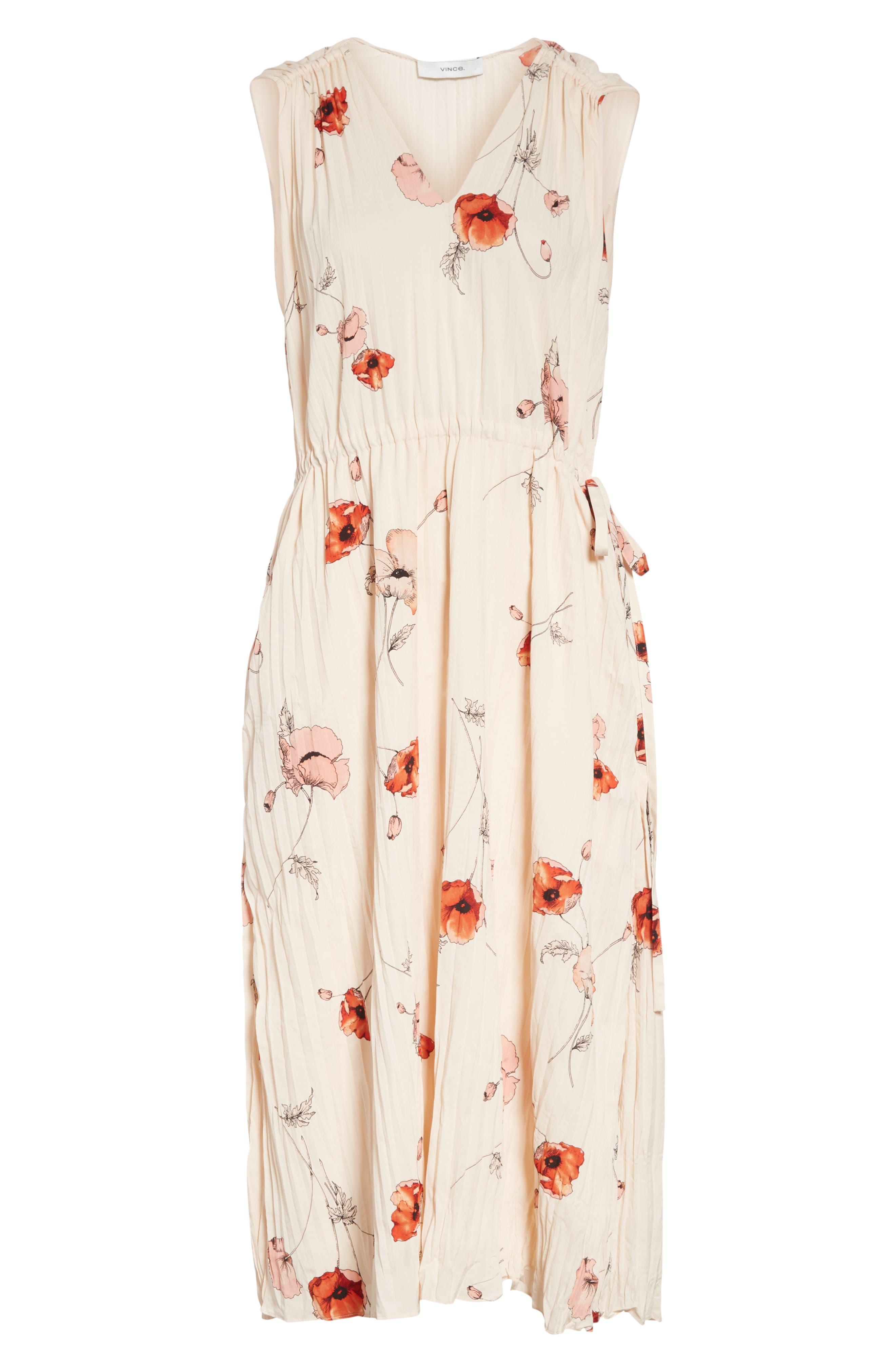 VINCE, Tossed Poppy Pleated Midi Dress, Alternate thumbnail 7, color, PALE BLUSH