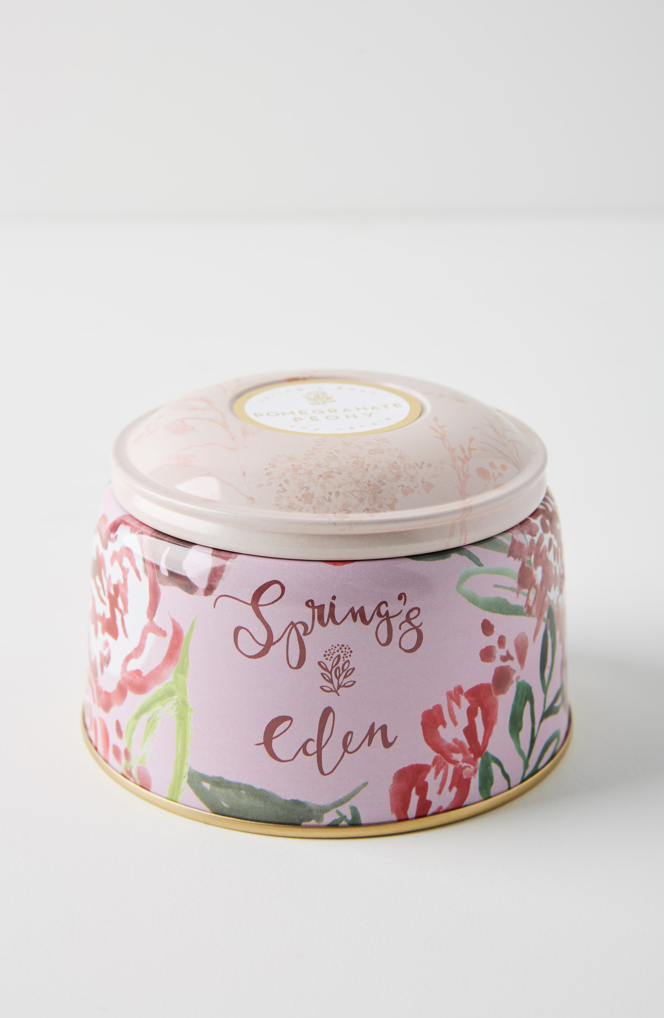 ANTHROPOLOGIE, Spring's Eden Tin Candle, Alternate thumbnail 2, color, POMEGRANATE PEONY