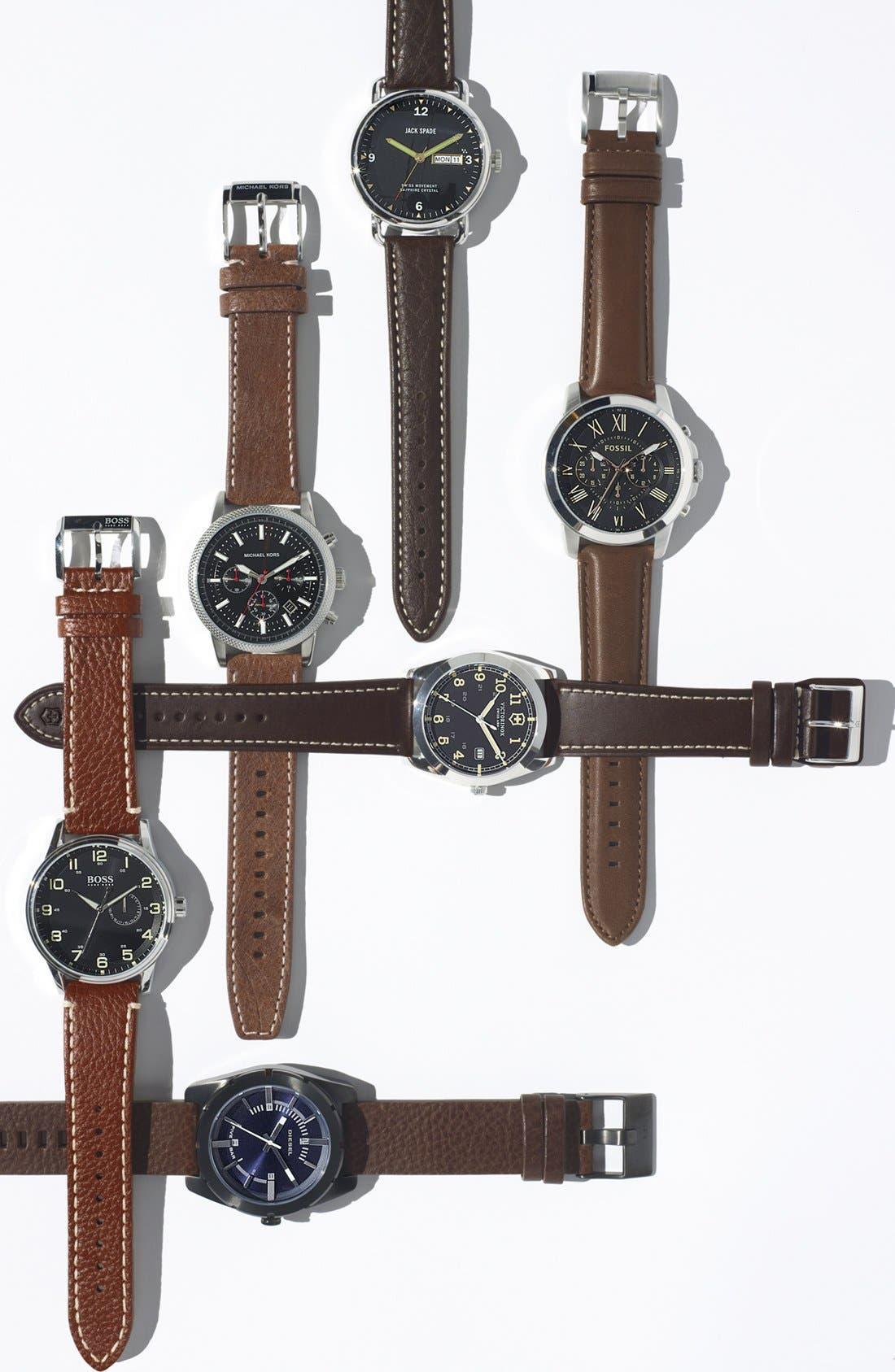 JACK SPADE, 'Buckner' Leather Strap Watch, 42mm, Alternate thumbnail 4, color, 001