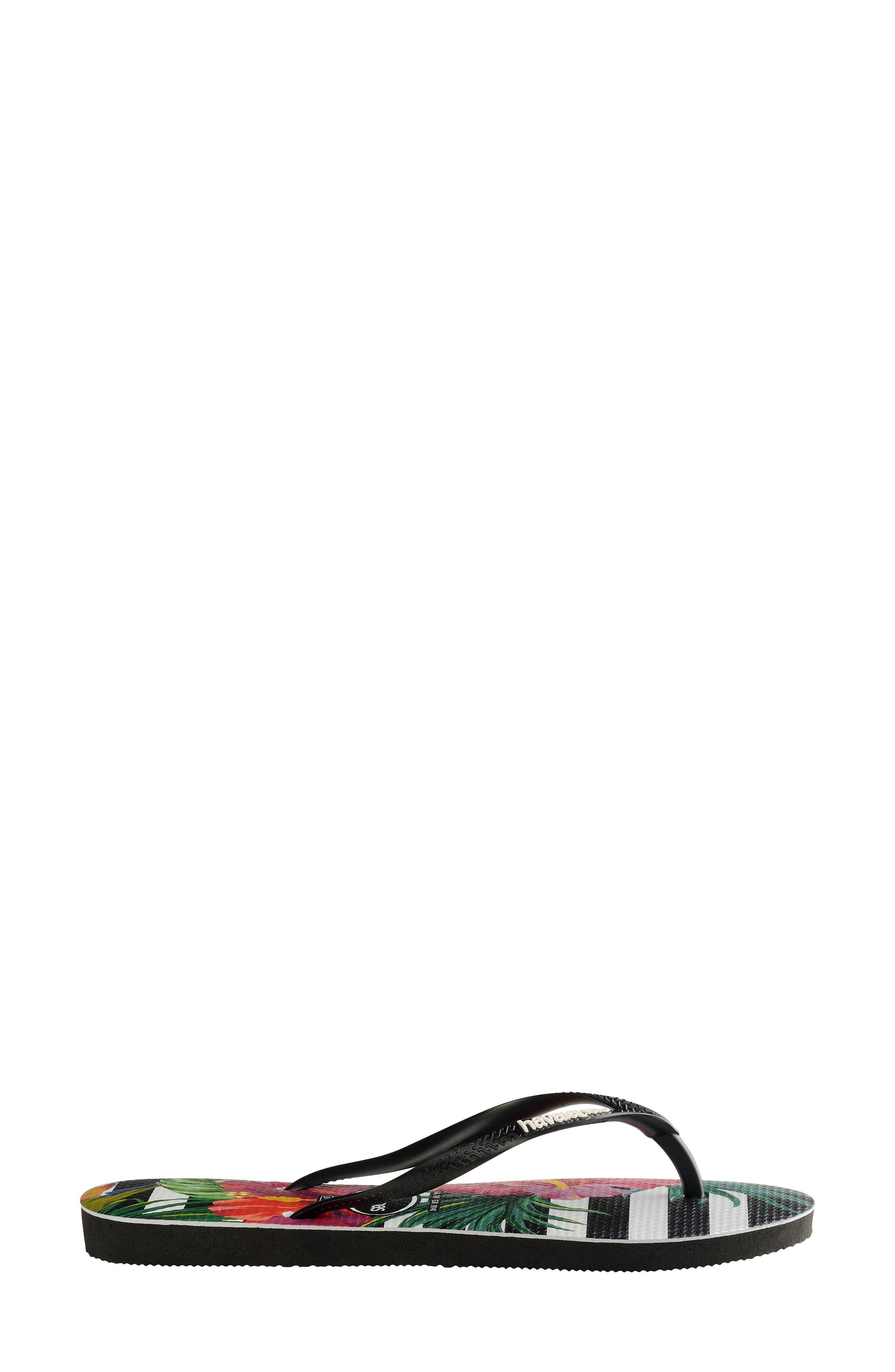 HAVAIANAS, Slim Tropical Floral Flip Flop, Alternate thumbnail 4, color, BLACK/ WHITE