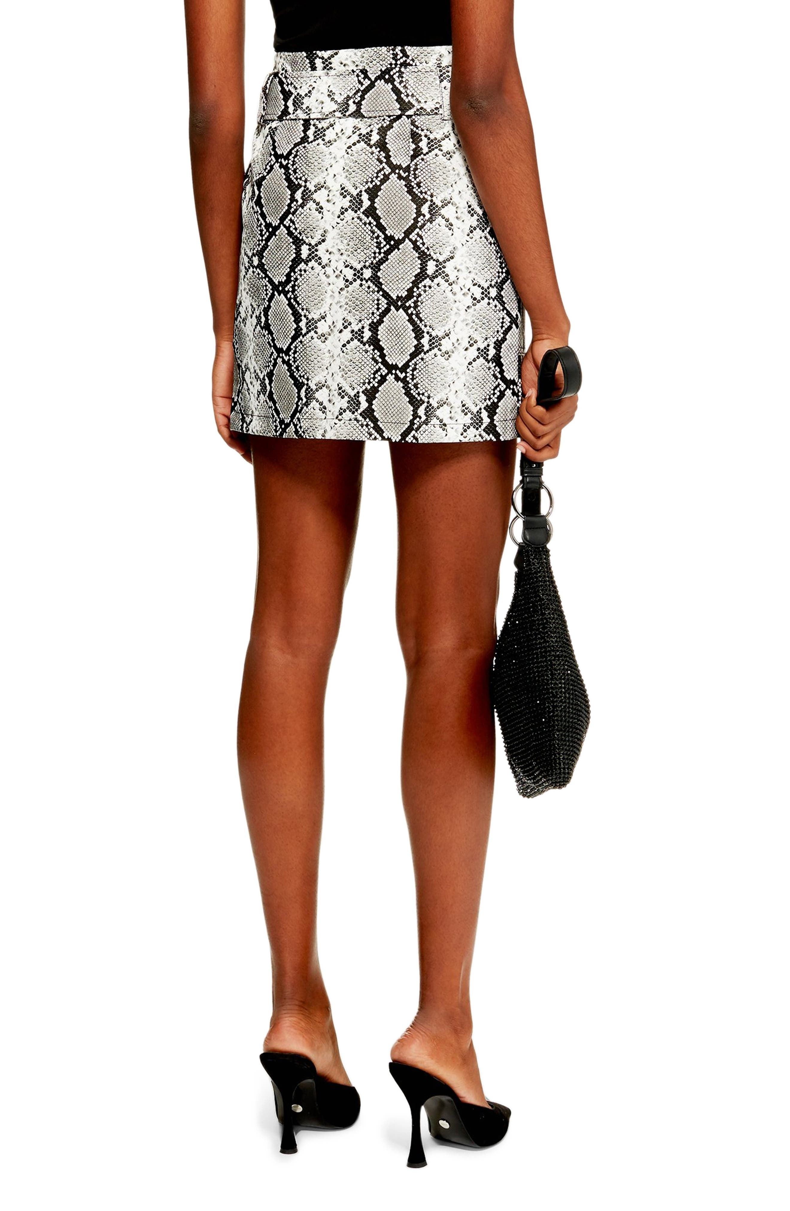 TOPSHOP, Belted Faux Leather Snake Print Miniskirt, Alternate thumbnail 2, color, 100
