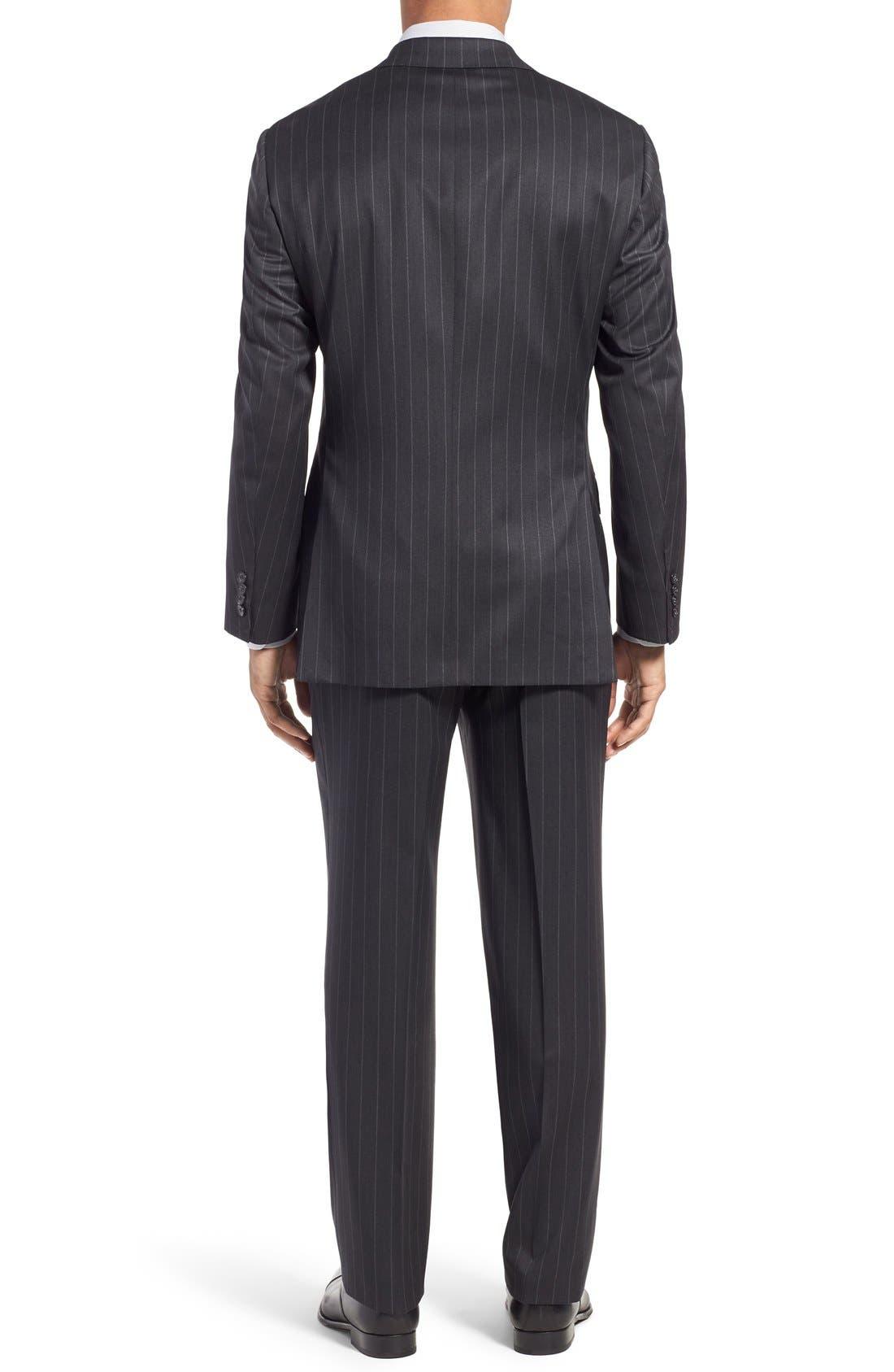 SAMUELSOHN, Classic Fit Stripe Wool Suit, Alternate thumbnail 2, color, 025