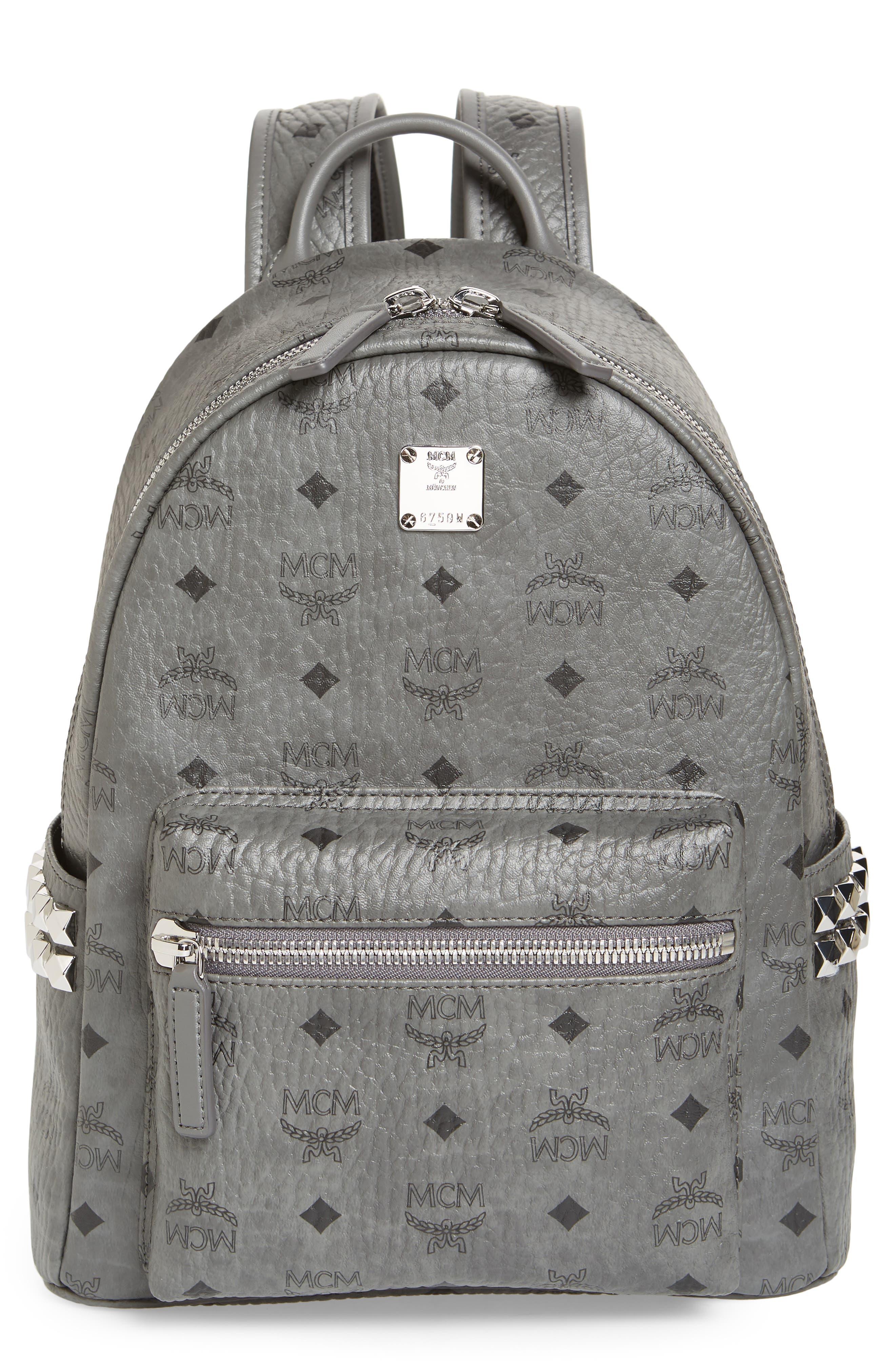 MCM Small Stark Side Stud Backpack, Main, color, PHANTOM GREY