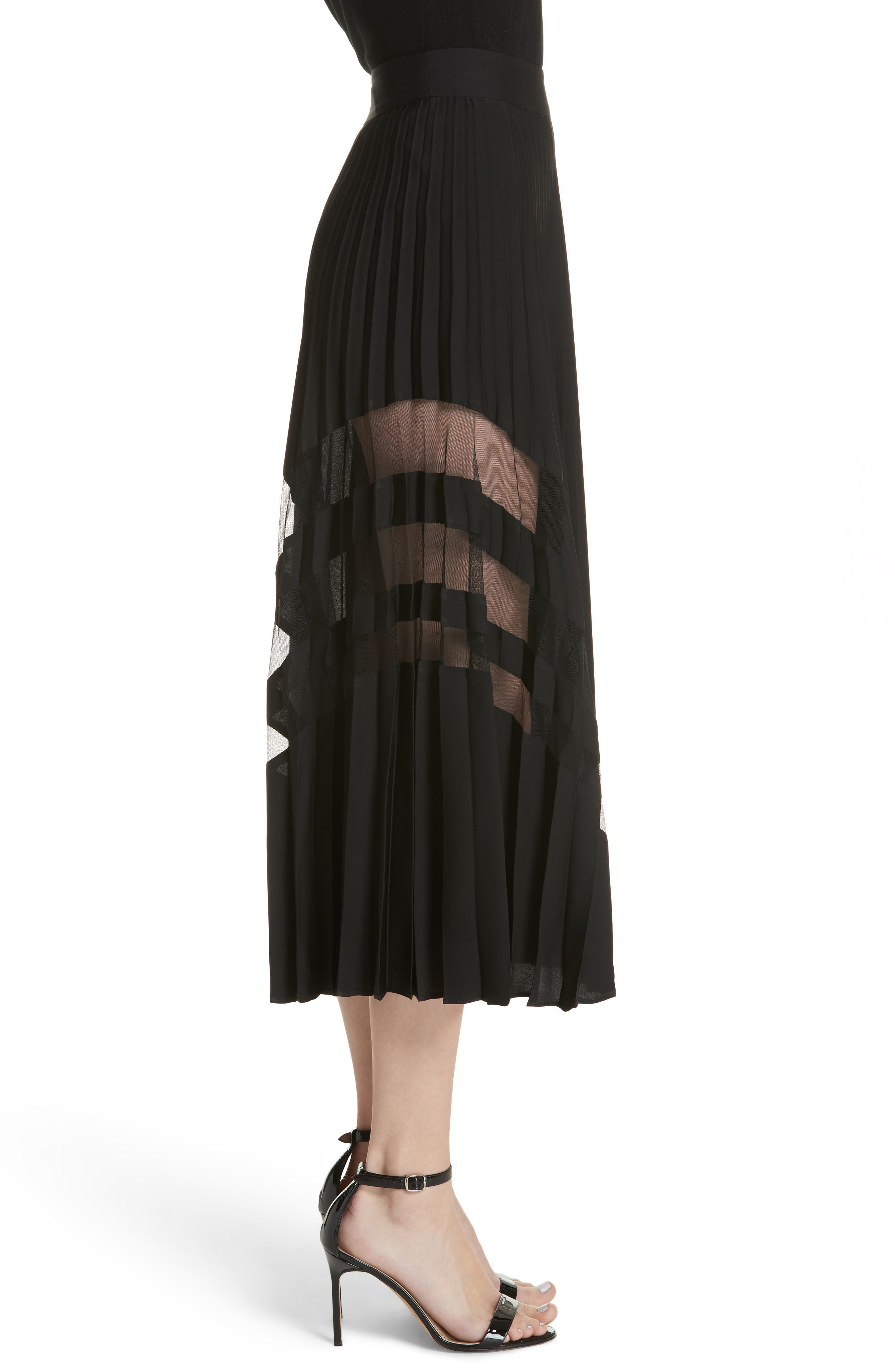MILLY, Pleated Maxi Skirt, Alternate thumbnail 3, color, 007