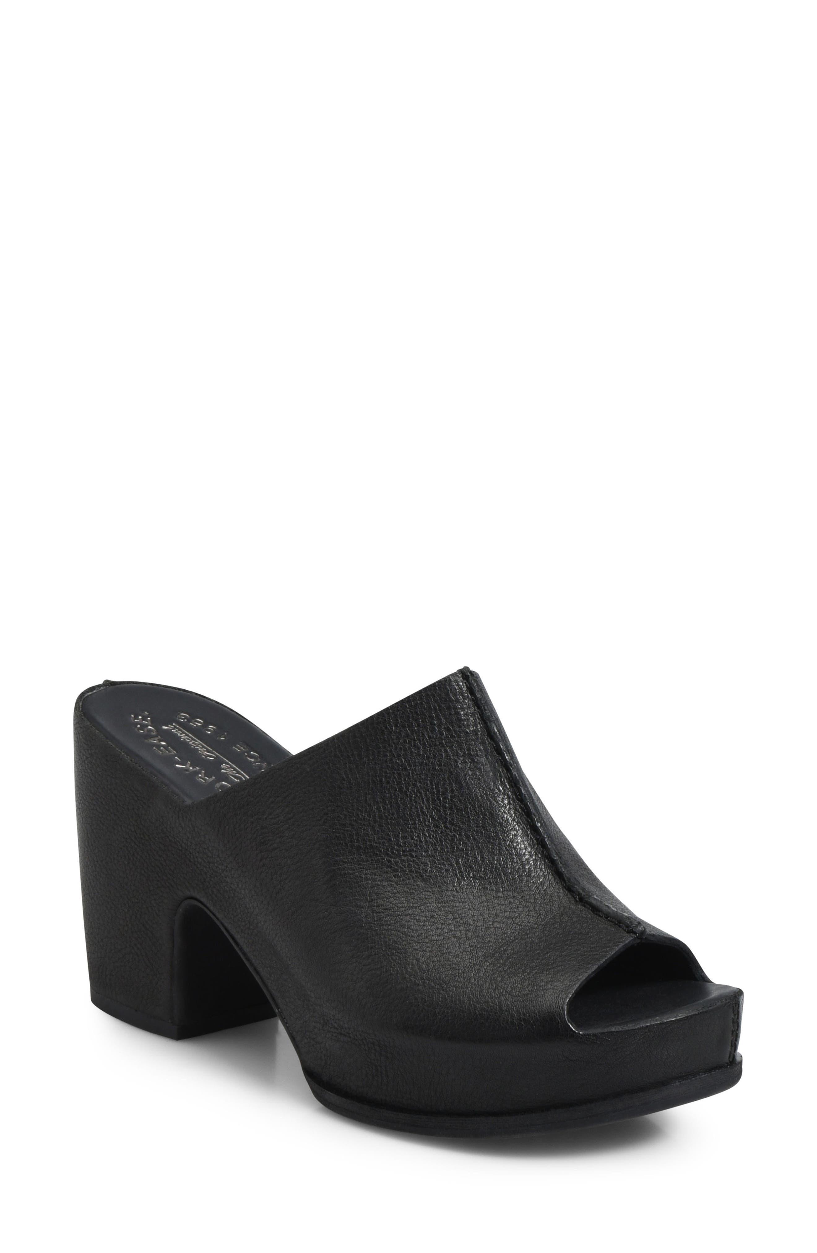 KORK-EASE<SUP>®</SUP> Santa Ana Platform Mule, Main, color, BLACK LEATHER