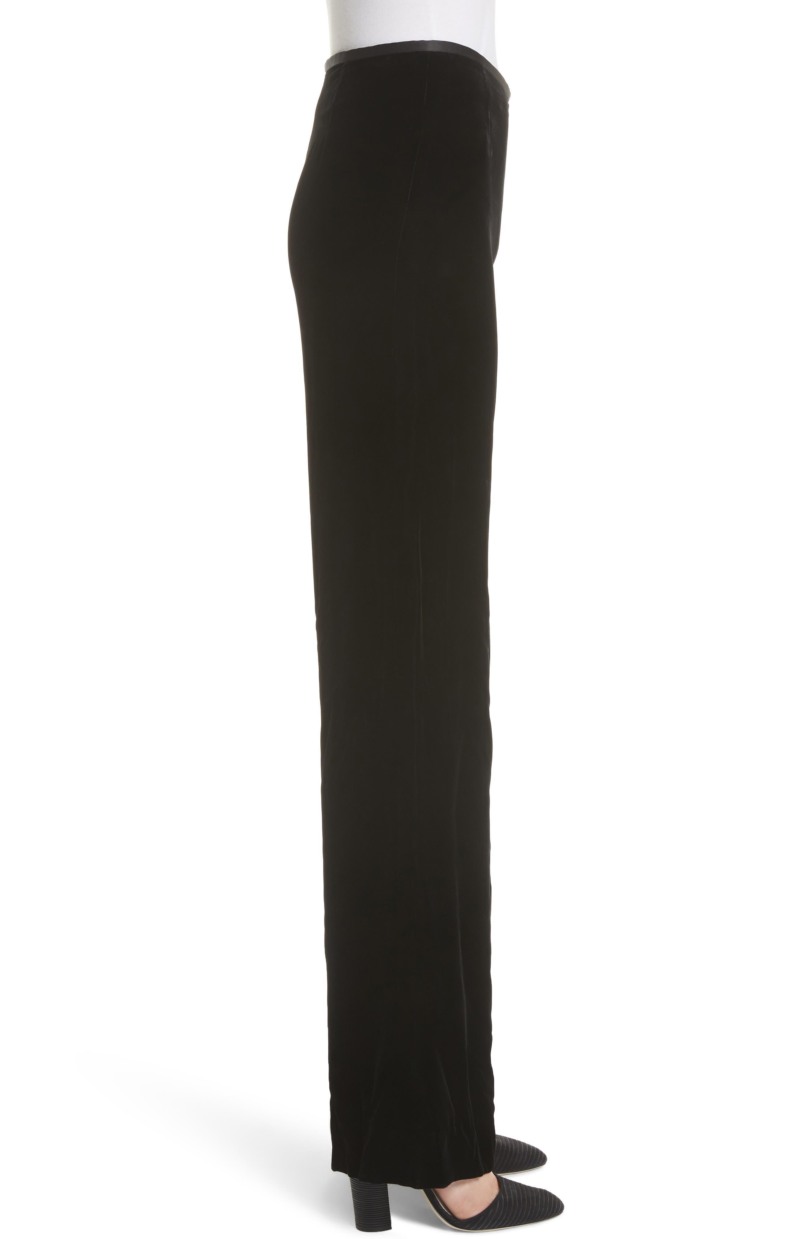 EMPORIO ARMANI, Wide Leg Velvet Pants, Alternate thumbnail 3, color, 004