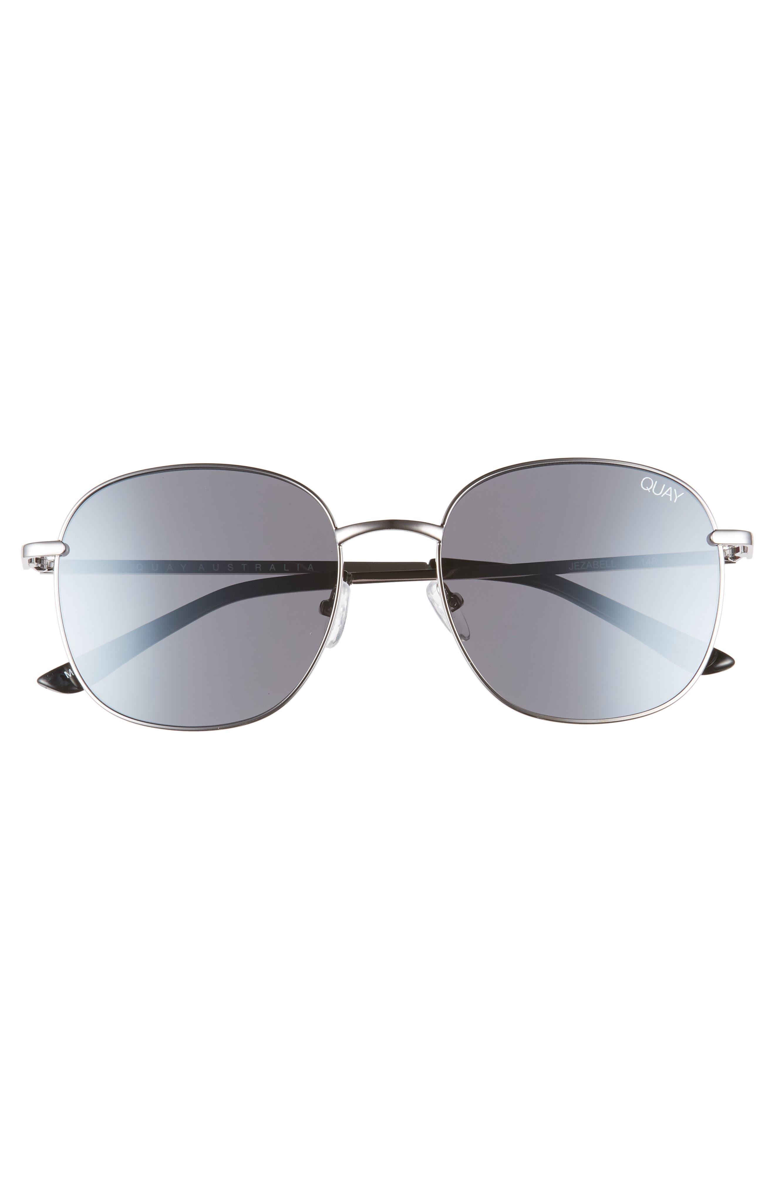 QUAY AUSTRALIA, Jezabell 57mm Round Sunglasses, Alternate thumbnail 3, color, GUNMETAL / SILVER MIRROR