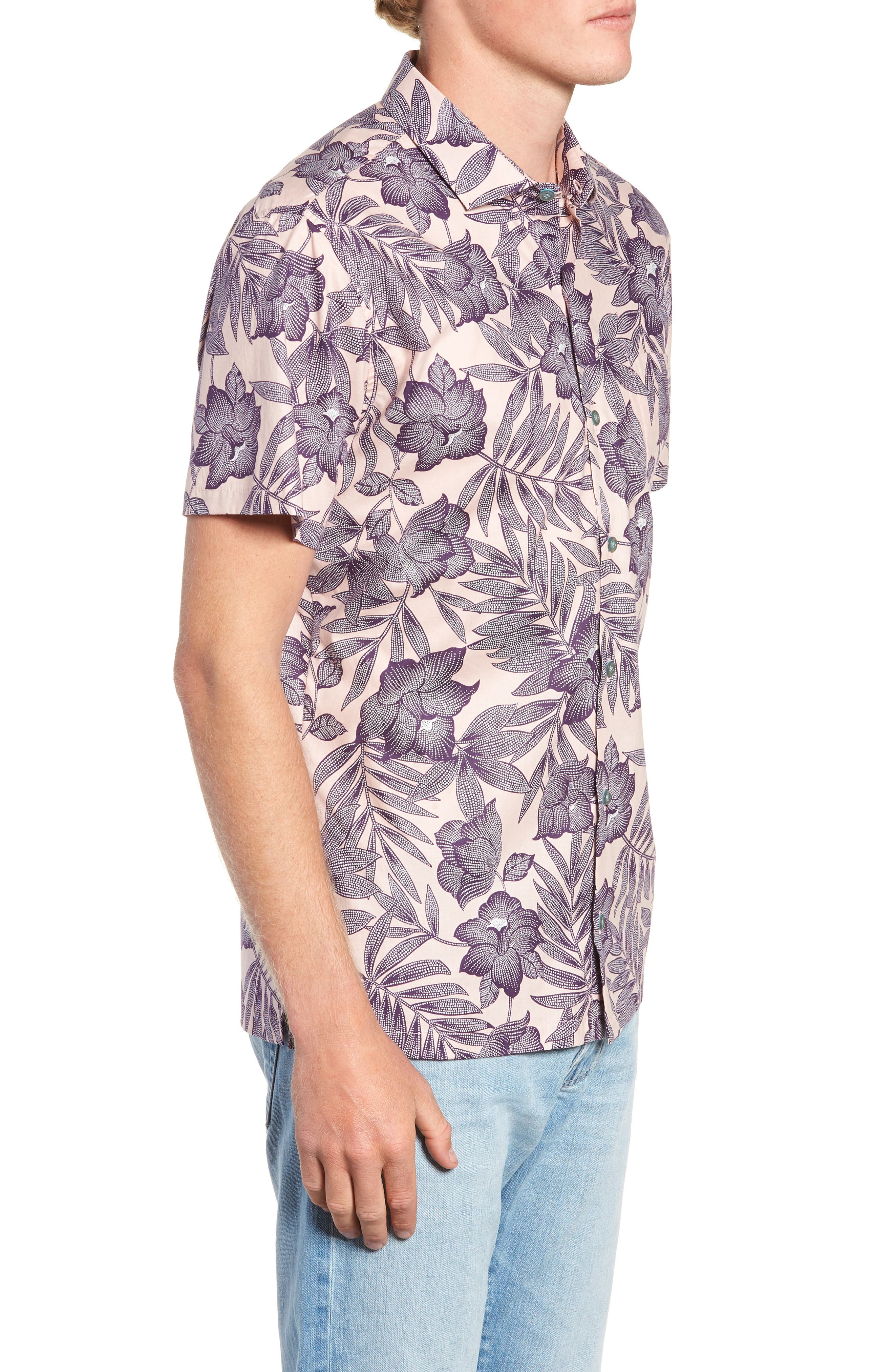 TORI RICHARD, Pollenesia Regular Fit Sport Shirt, Alternate thumbnail 4, color, PINK