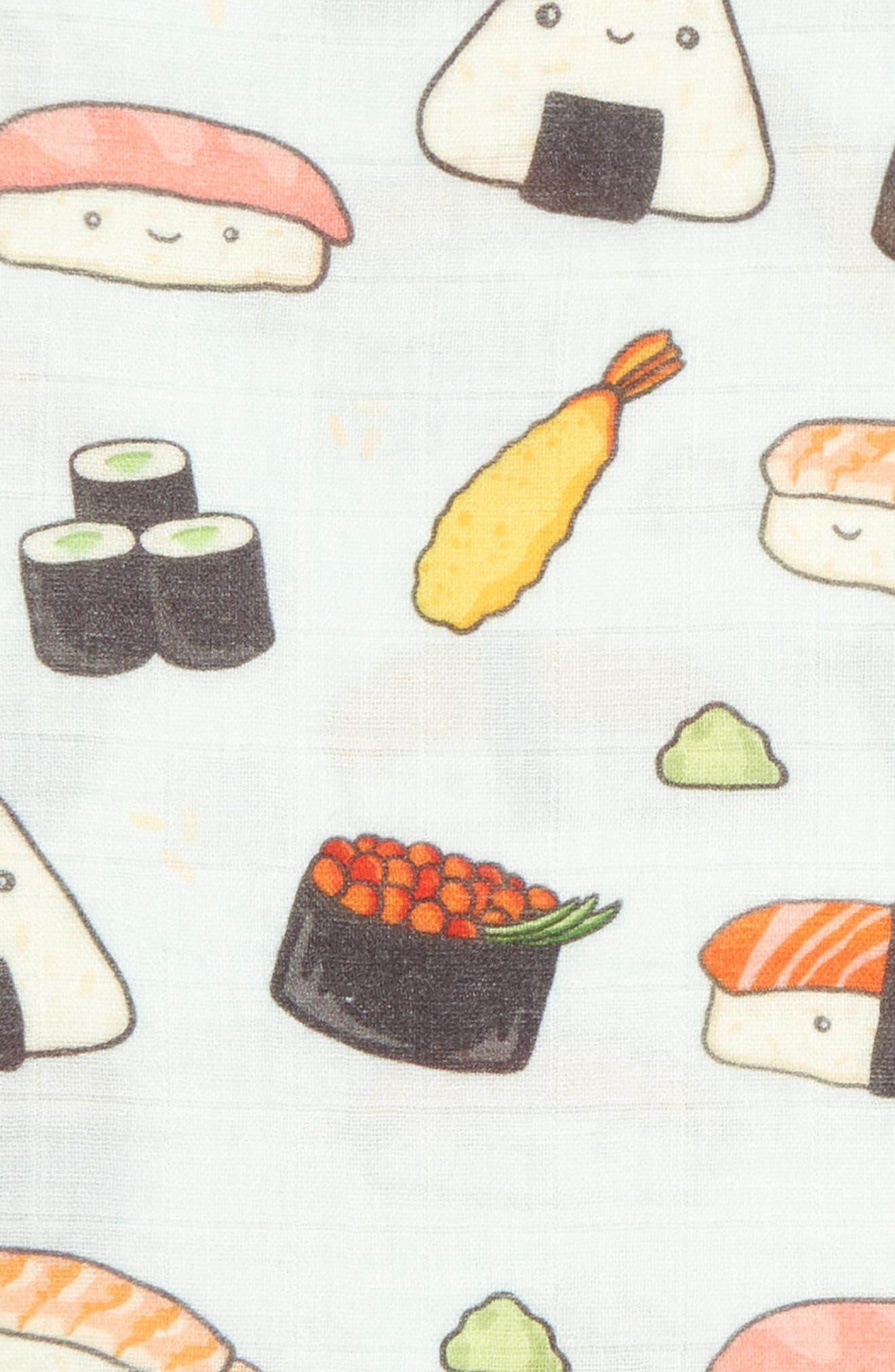 LOULOU LOLLIPOP, Sushi Deluxe Muslin Swaddle Blanket, Alternate thumbnail 2, color, SUSHI
