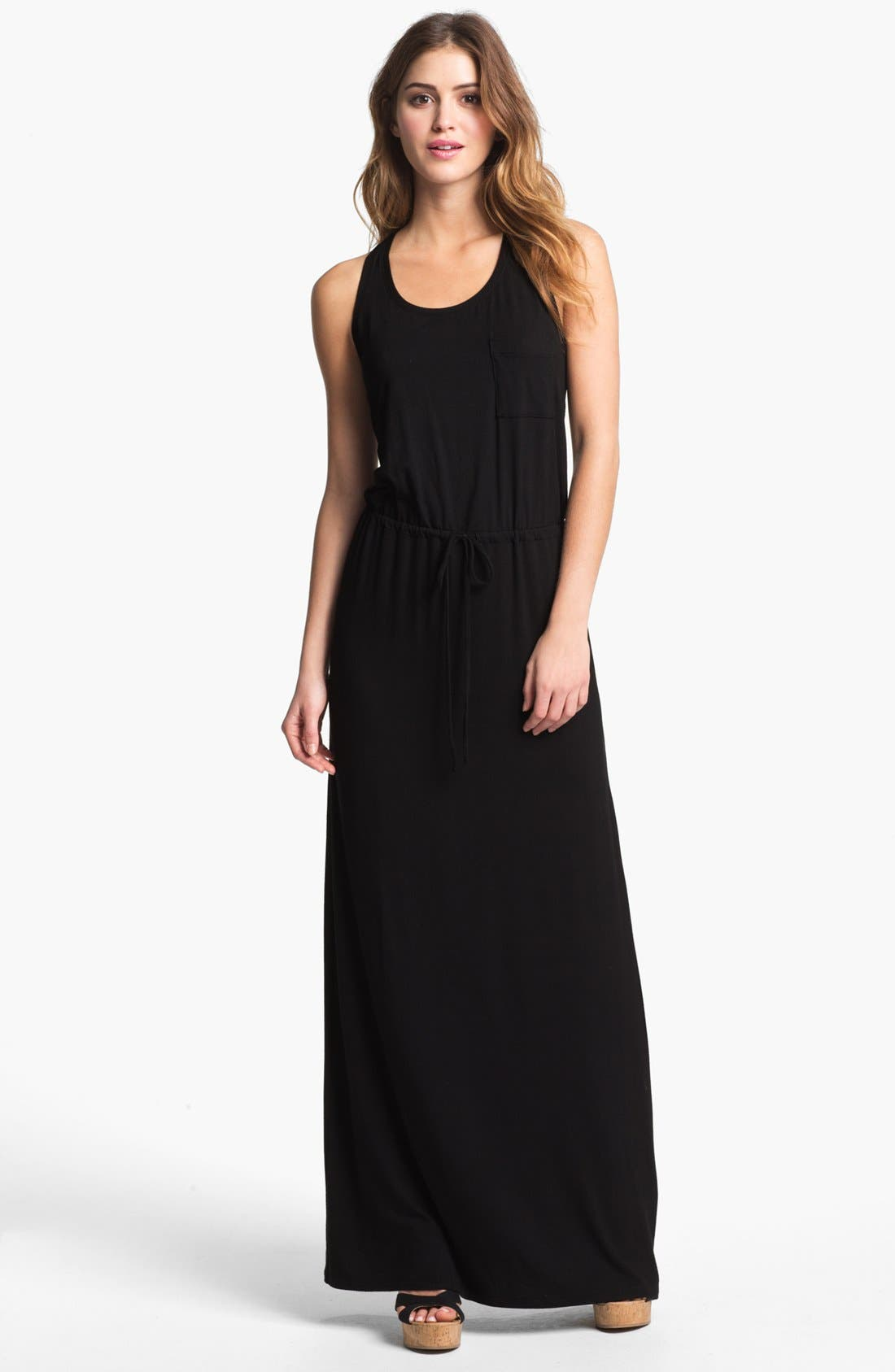 CASLON<SUP>®</SUP>, Racerback Jersey Maxi Dress, Main thumbnail 1, color, 001
