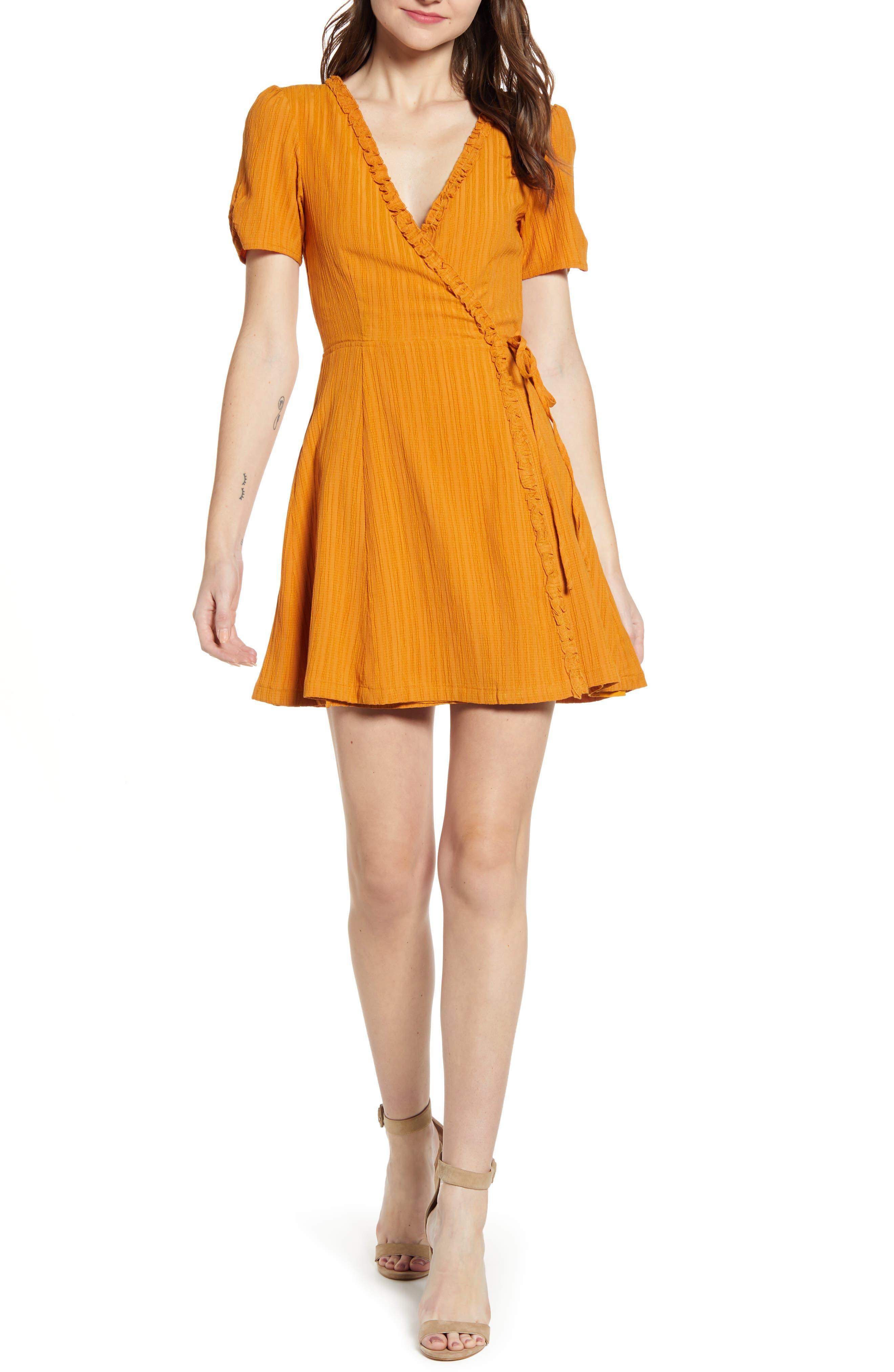 Minkpink Selina Frill Wrap Dress, Yellow