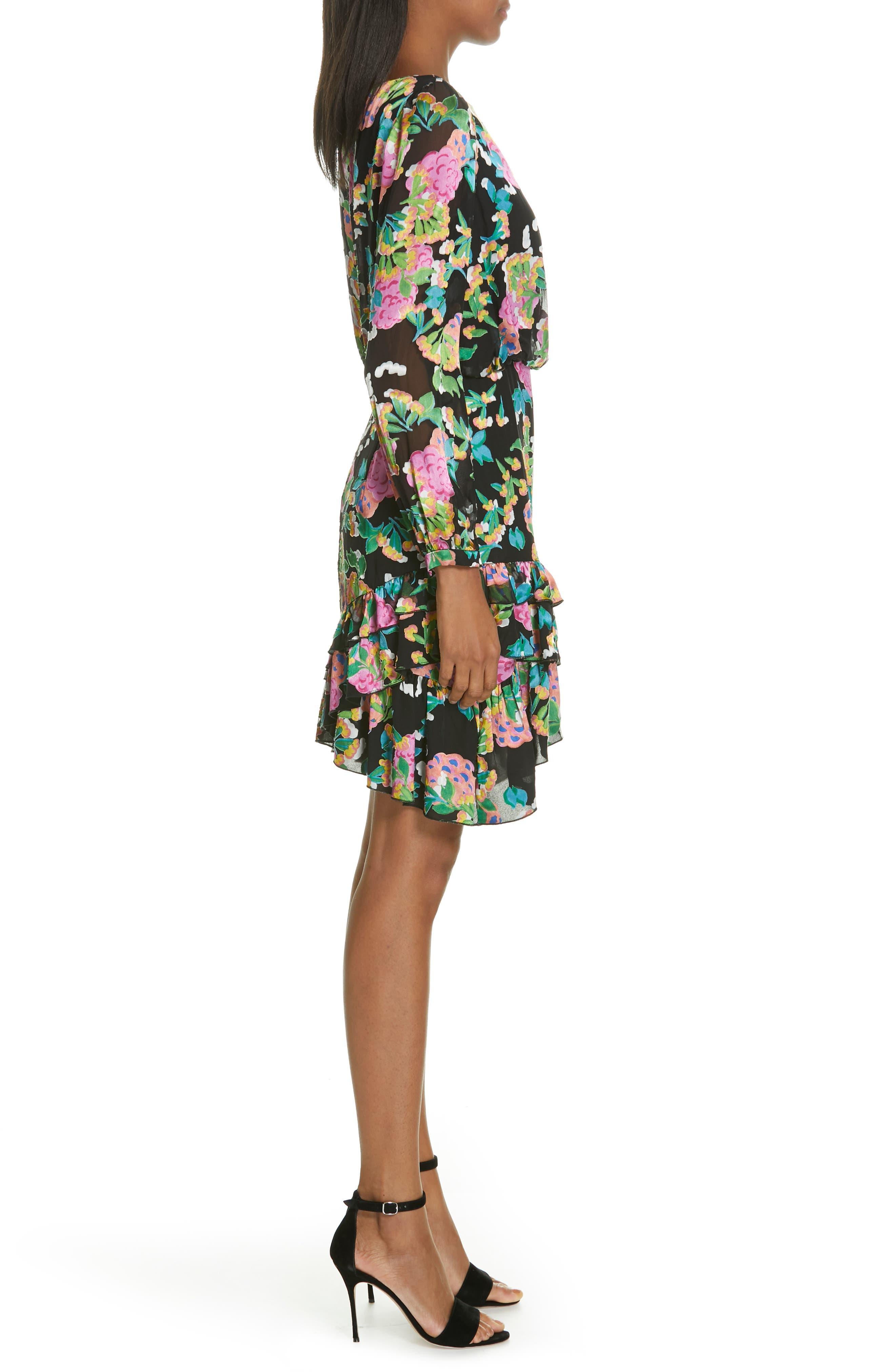 SALONI, Felicia Asymmetrical Silk Blend Dress, Alternate thumbnail 3, color, HYDRANGEA