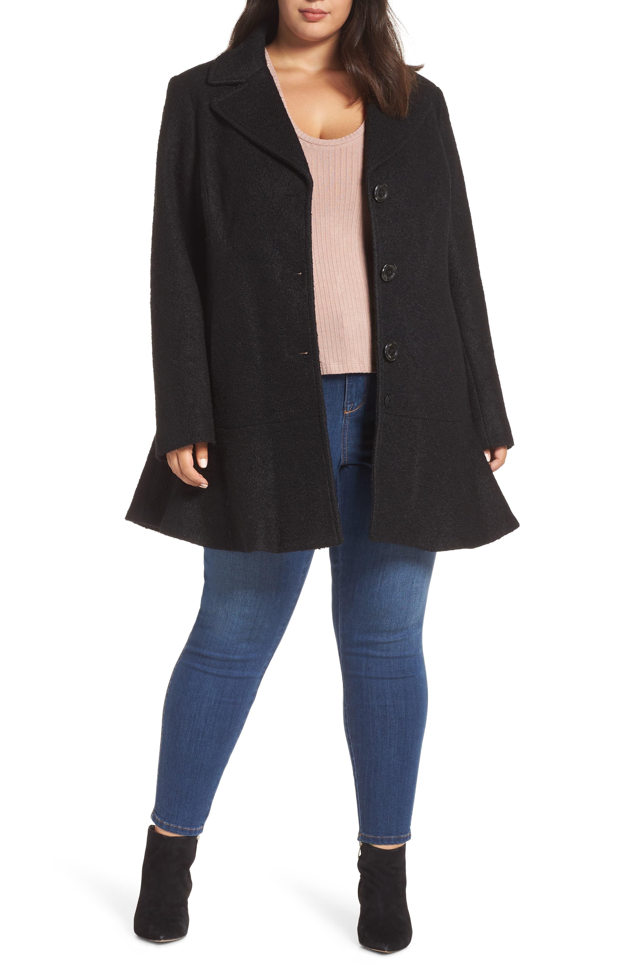 KENSIE Notch Lapel Peplum Coat, Main, color, BLACK