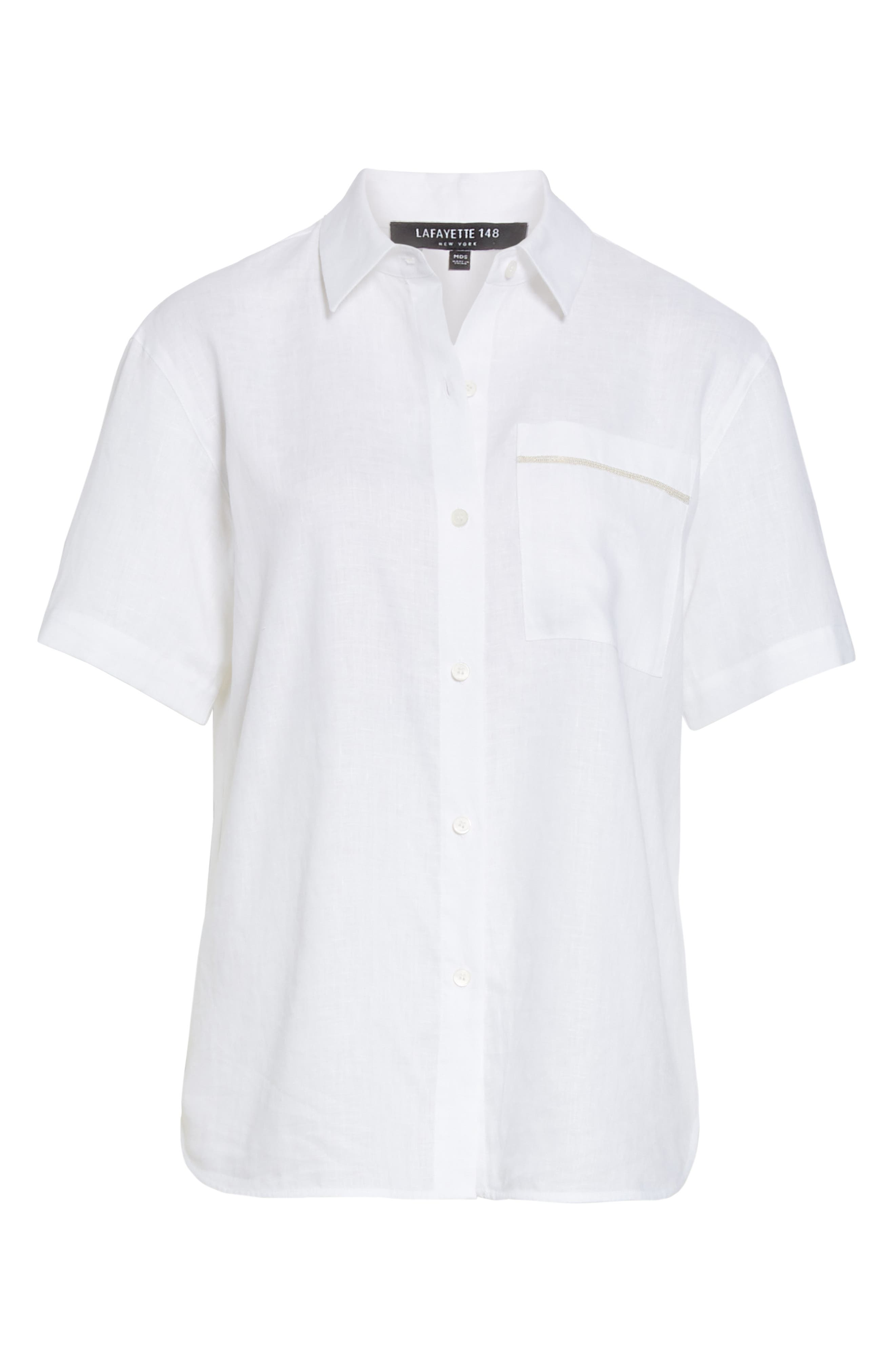 LAFAYETTE 148 NEW YORK, Justice Linen Shirt, Alternate thumbnail 7, color, WHITE