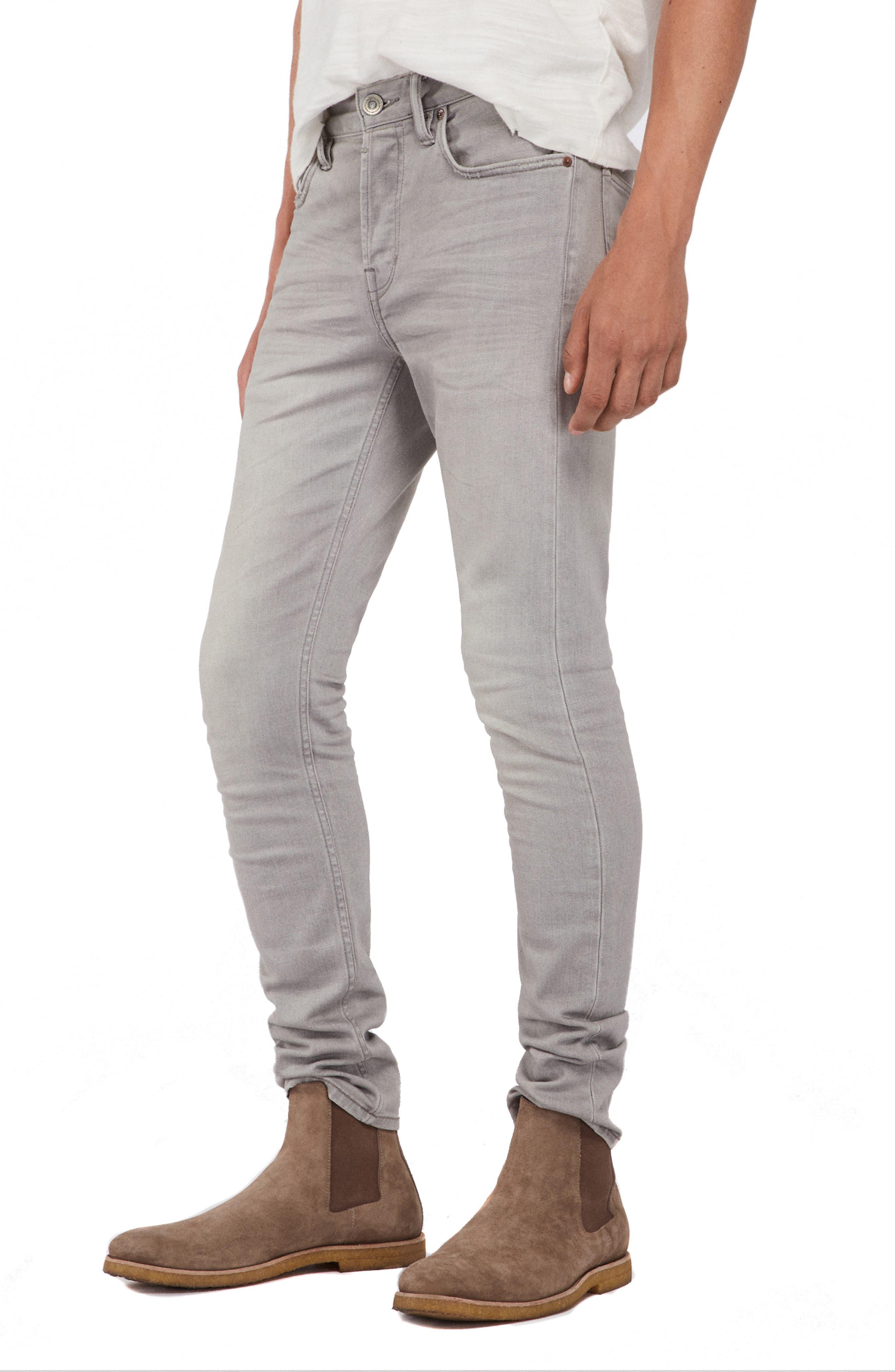 ALLSAINTS, Raveline Cigarette Skinny Fit Jeans, Alternate thumbnail 4, color, GREY