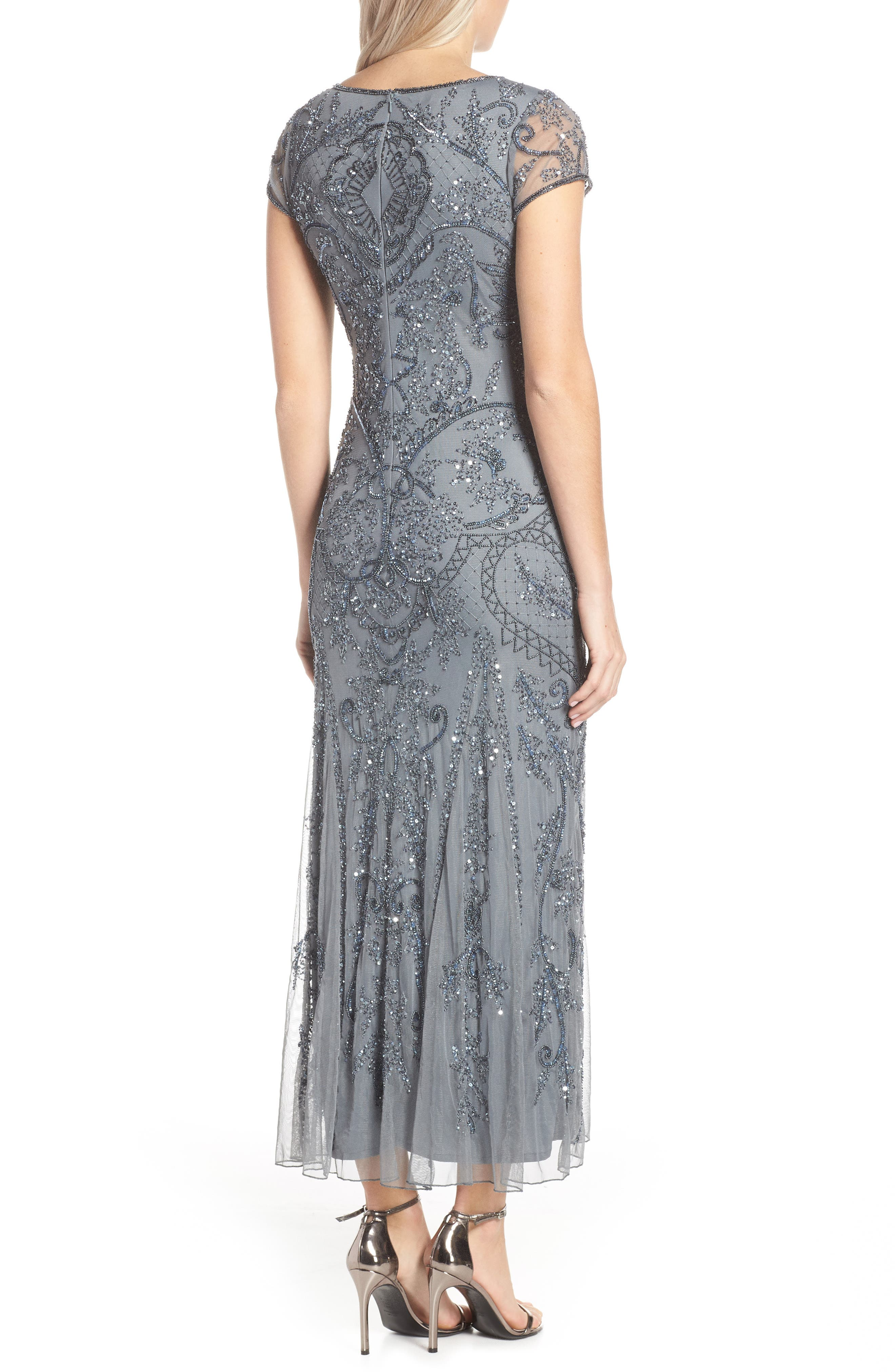 PISARRO NIGHTS, Embellished Mesh Gown, Alternate thumbnail 2, color, STEEL