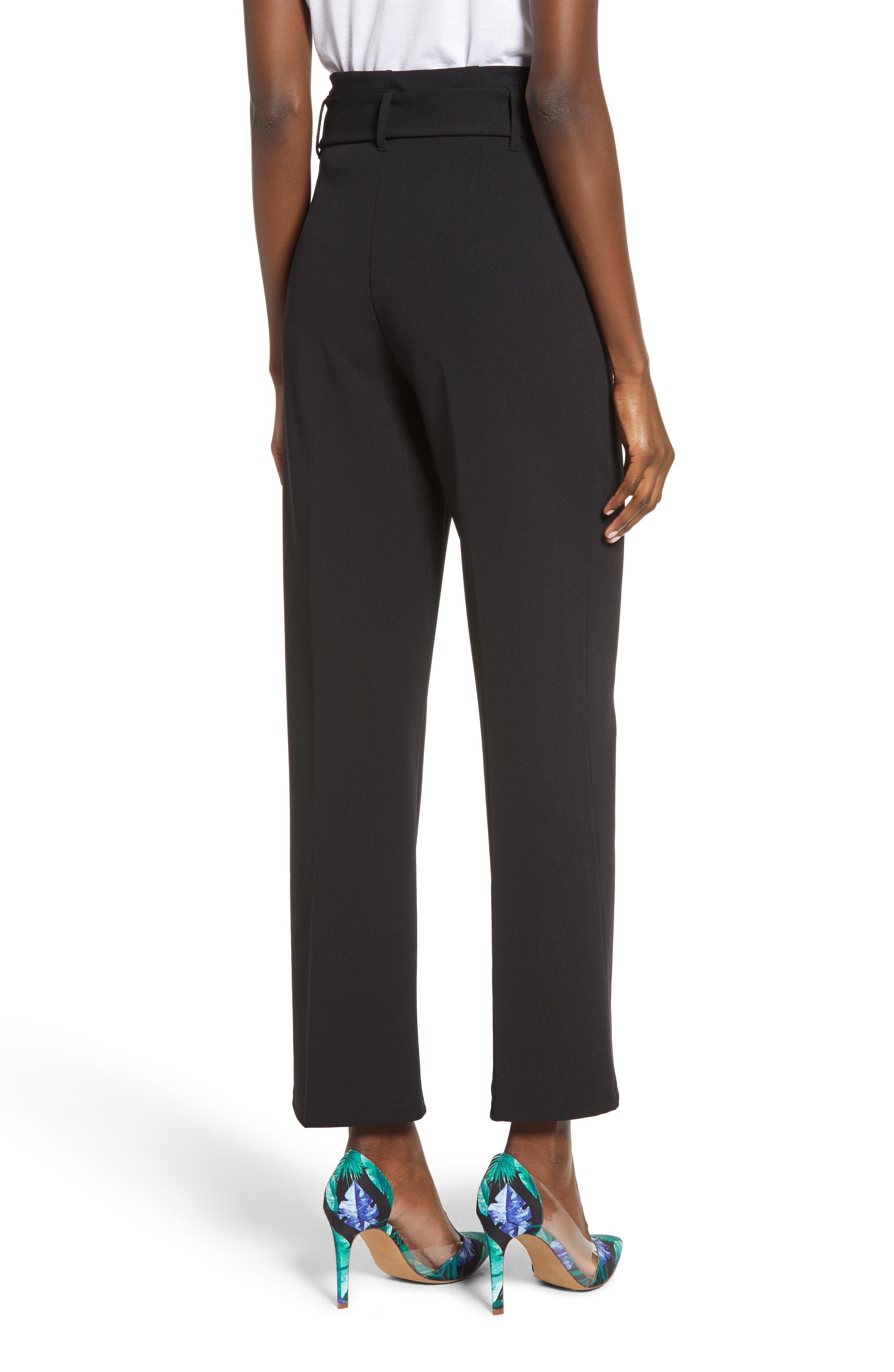 LEITH, High Waist Belted Pants, Alternate thumbnail 2, color, 001
