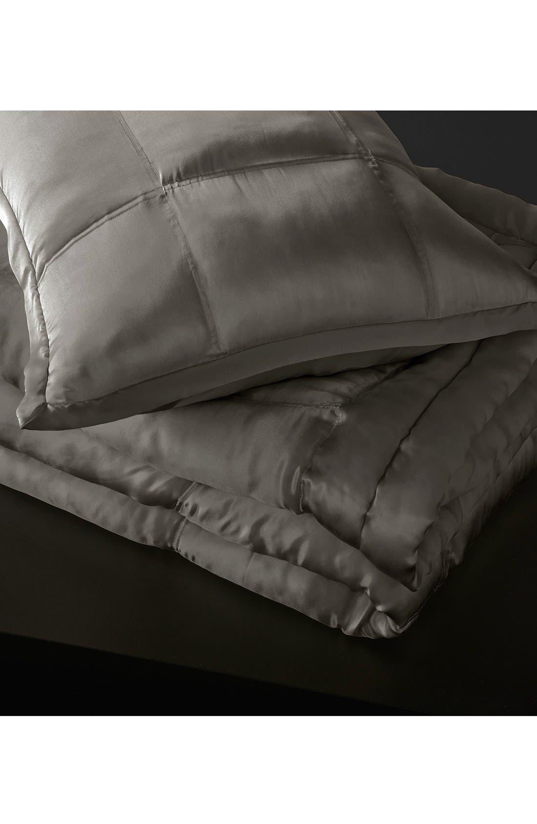 DONNA KARAN NEW YORK, Donna Karan Collection 'Surface' Silk Charmeuse Quilt, Main thumbnail 1, color, CHARCOAL