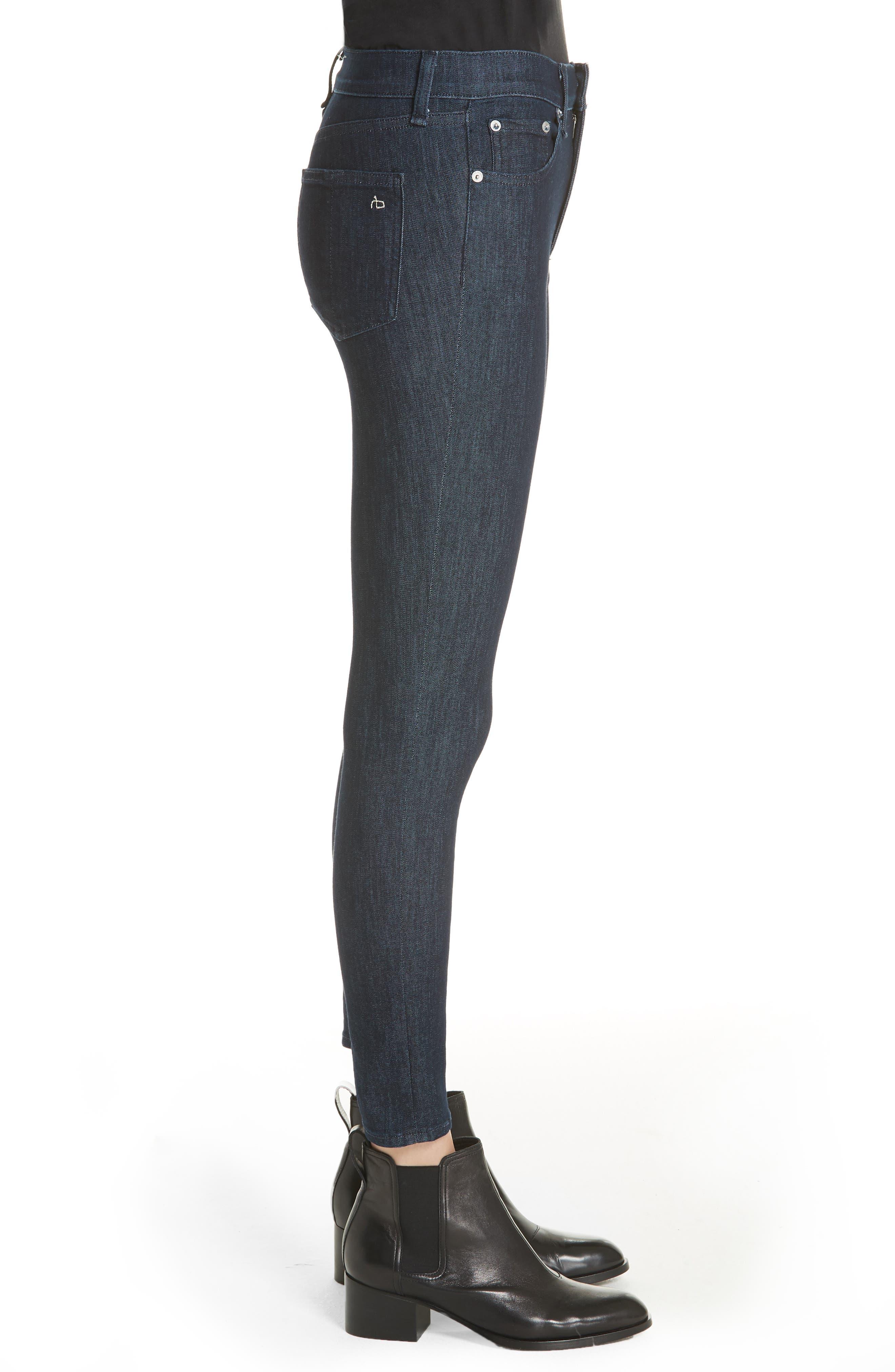 RAG & BONE, High Waist Skinny Jeans, Alternate thumbnail 4, color, INDIGO