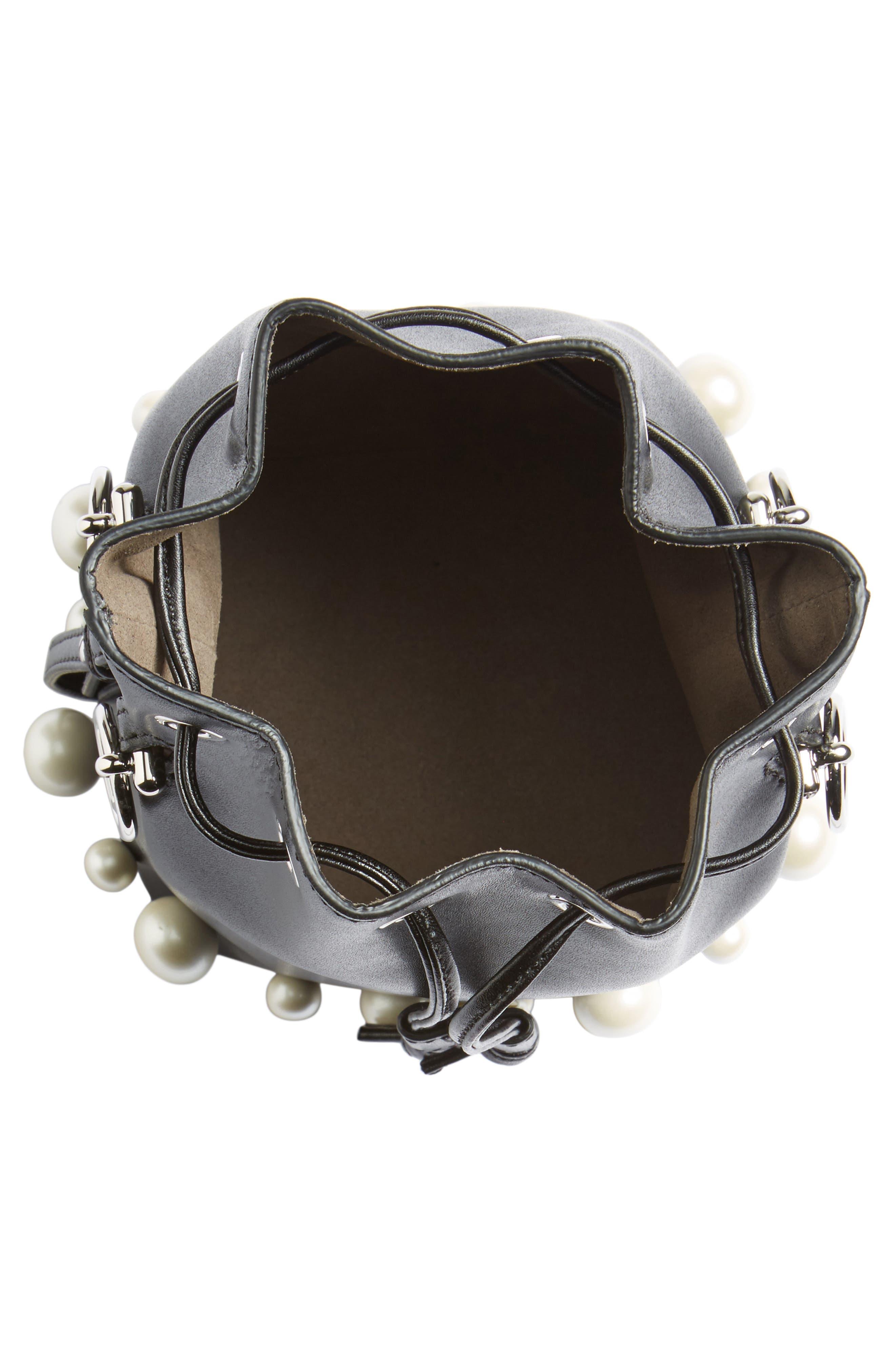 FENDI, Imitation Pearl Calfskin Bucket Bag, Alternate thumbnail 4, color, BLACK