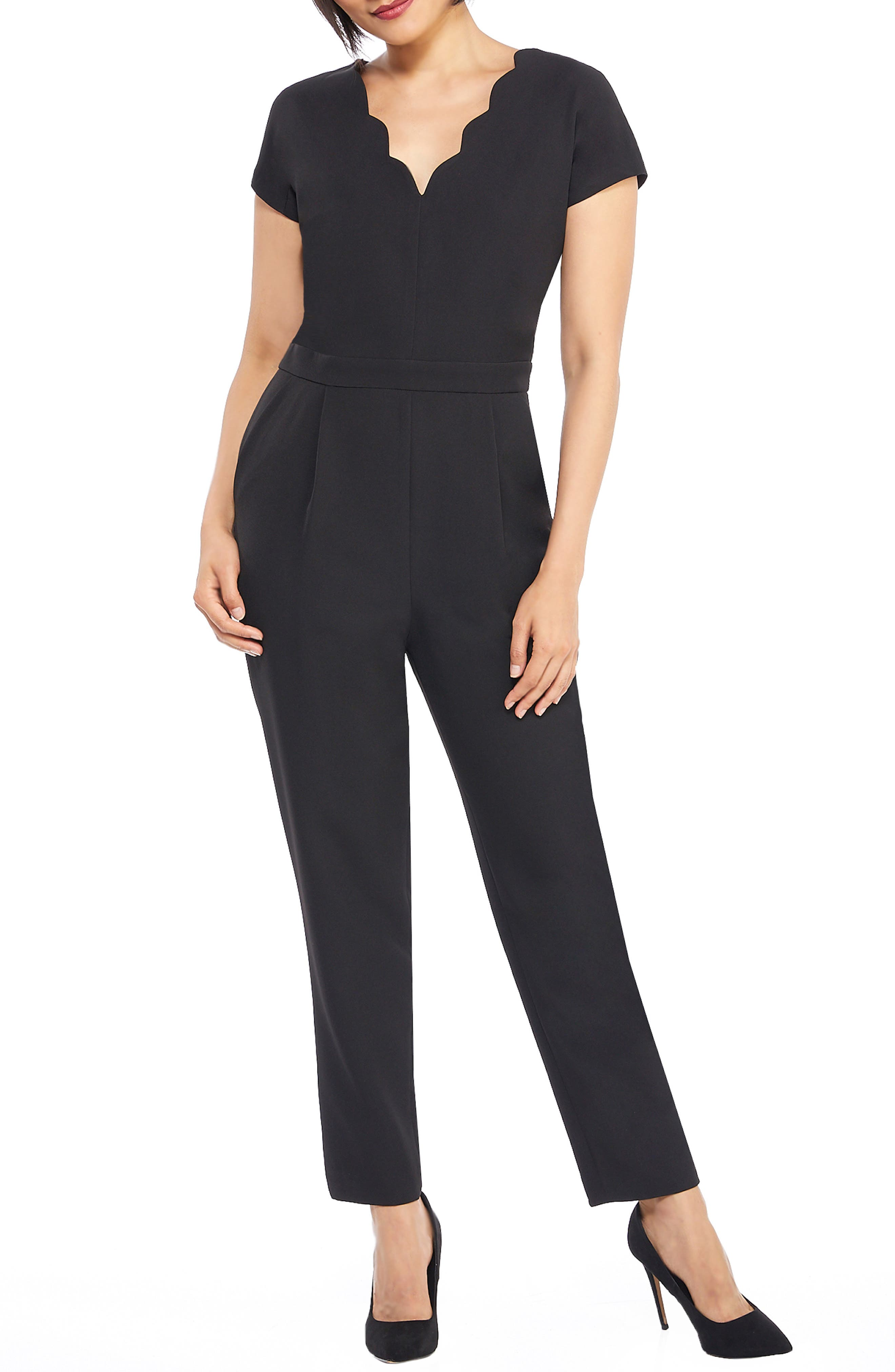 MAGGY LONDON, Crepe Jumpsuit, Main thumbnail 1, color, 001
