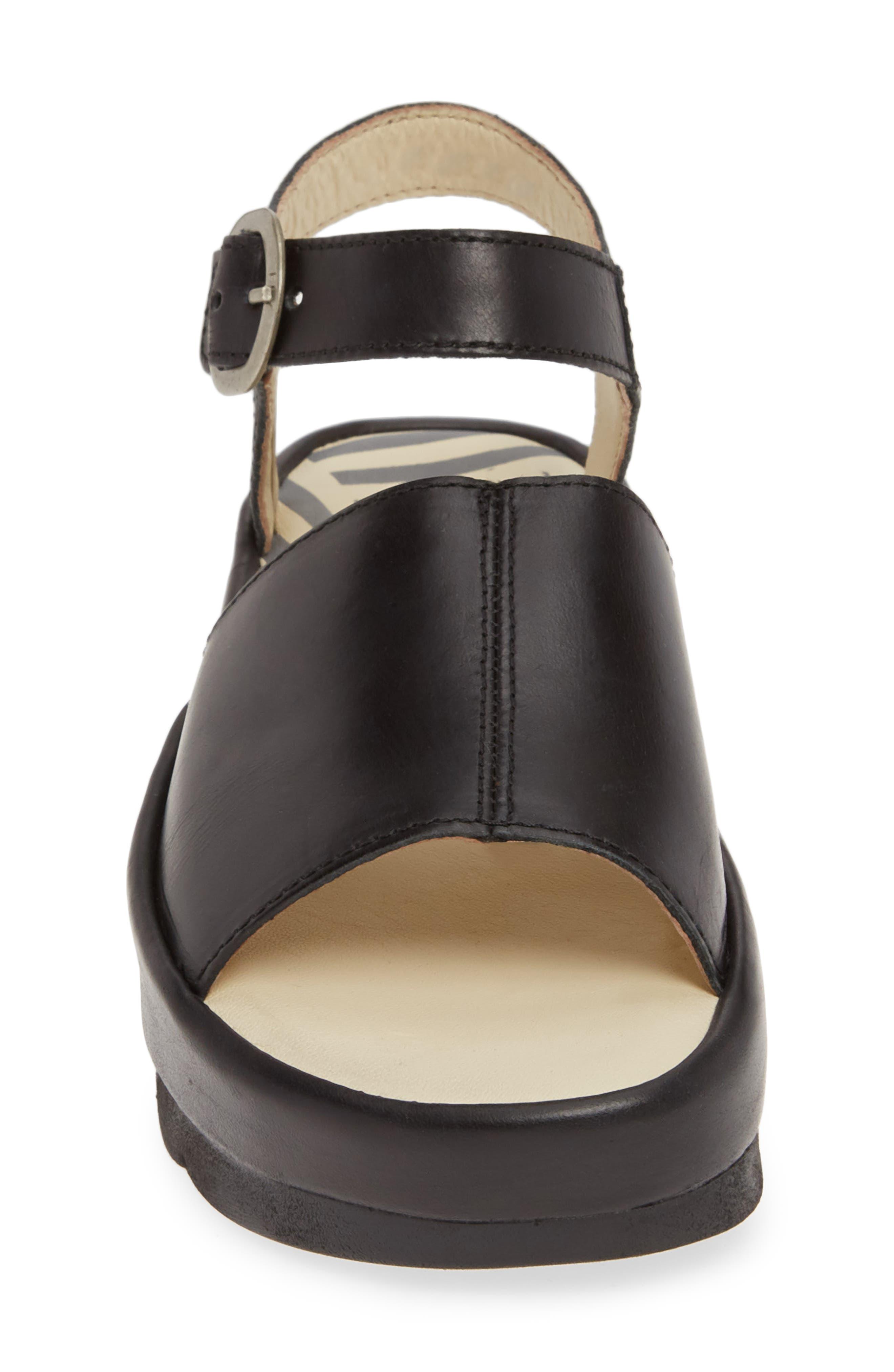 FLY LONDON, Bano Platform Sandal, Alternate thumbnail 4, color, BLACK LEATHER