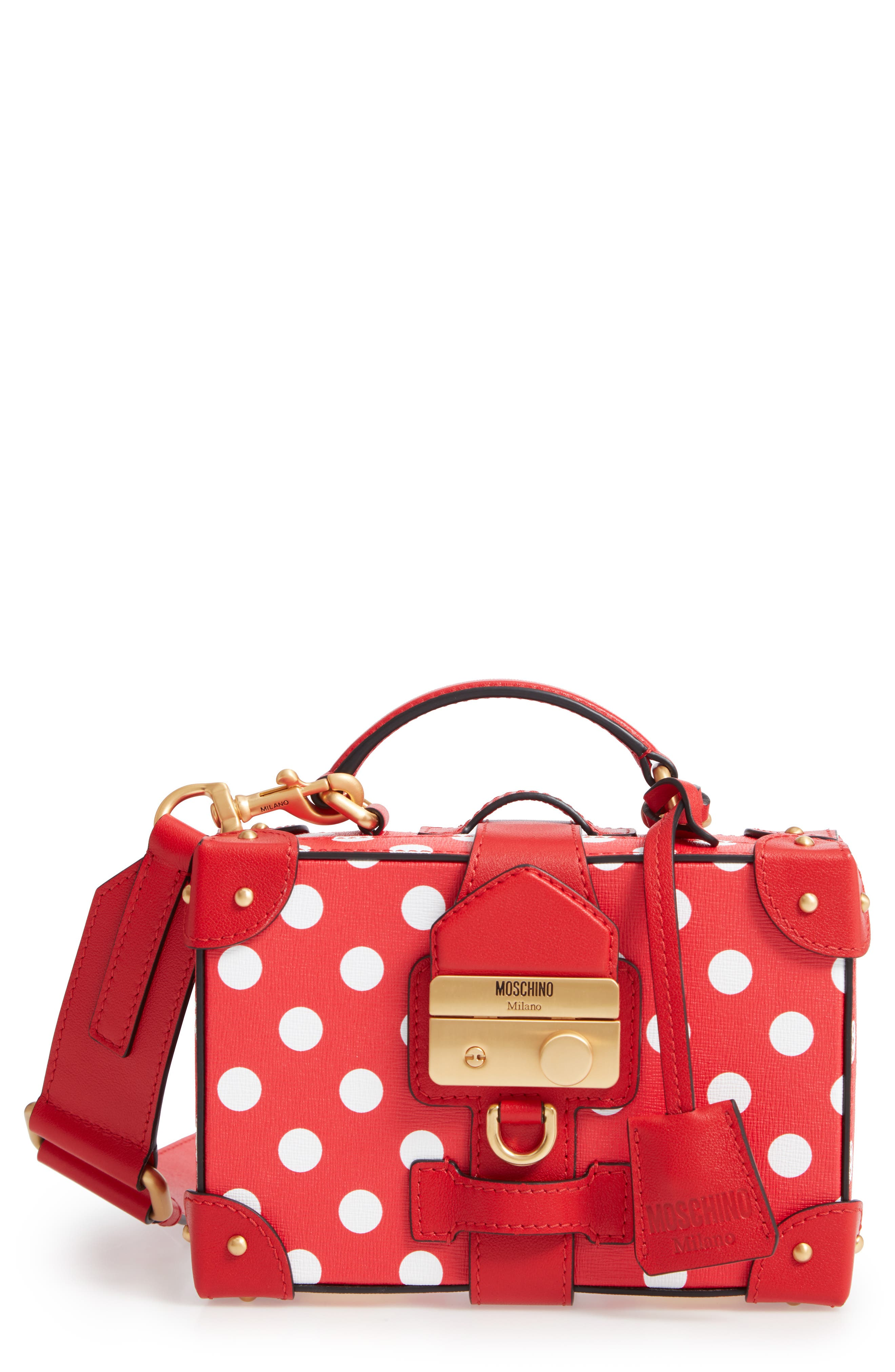 MOSCHINO, Polka Dot Box Leather Crossbody Bag, Main thumbnail 1, color, RED