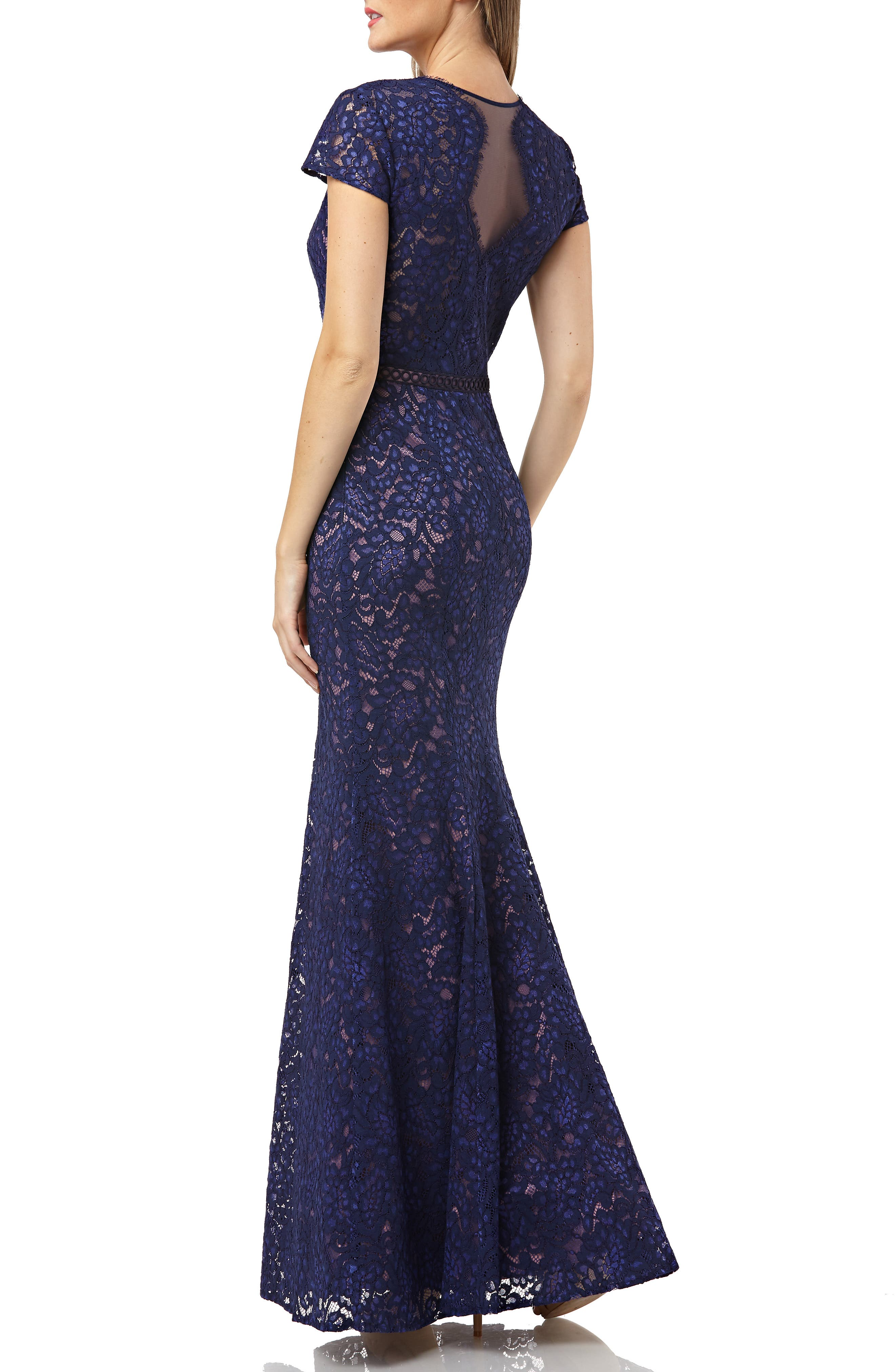 JS COLLECTIONS, Lace Mermaid Gown, Alternate thumbnail 2, color, NAVY/ ROSE