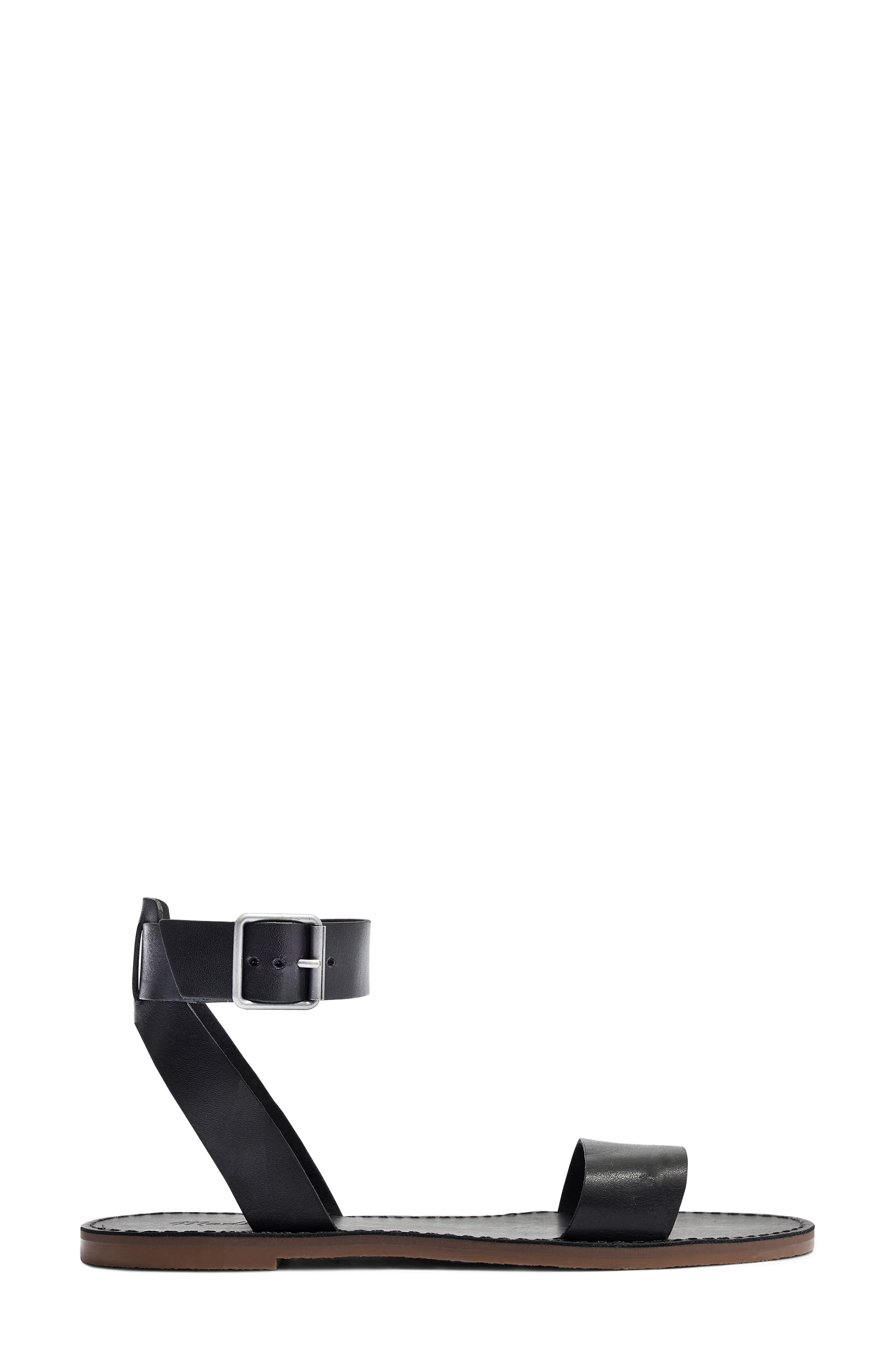MADEWELL, The Boardwalk Ankle Strap Sandal, Alternate thumbnail 3, color, TRUE BLACK LEATHER