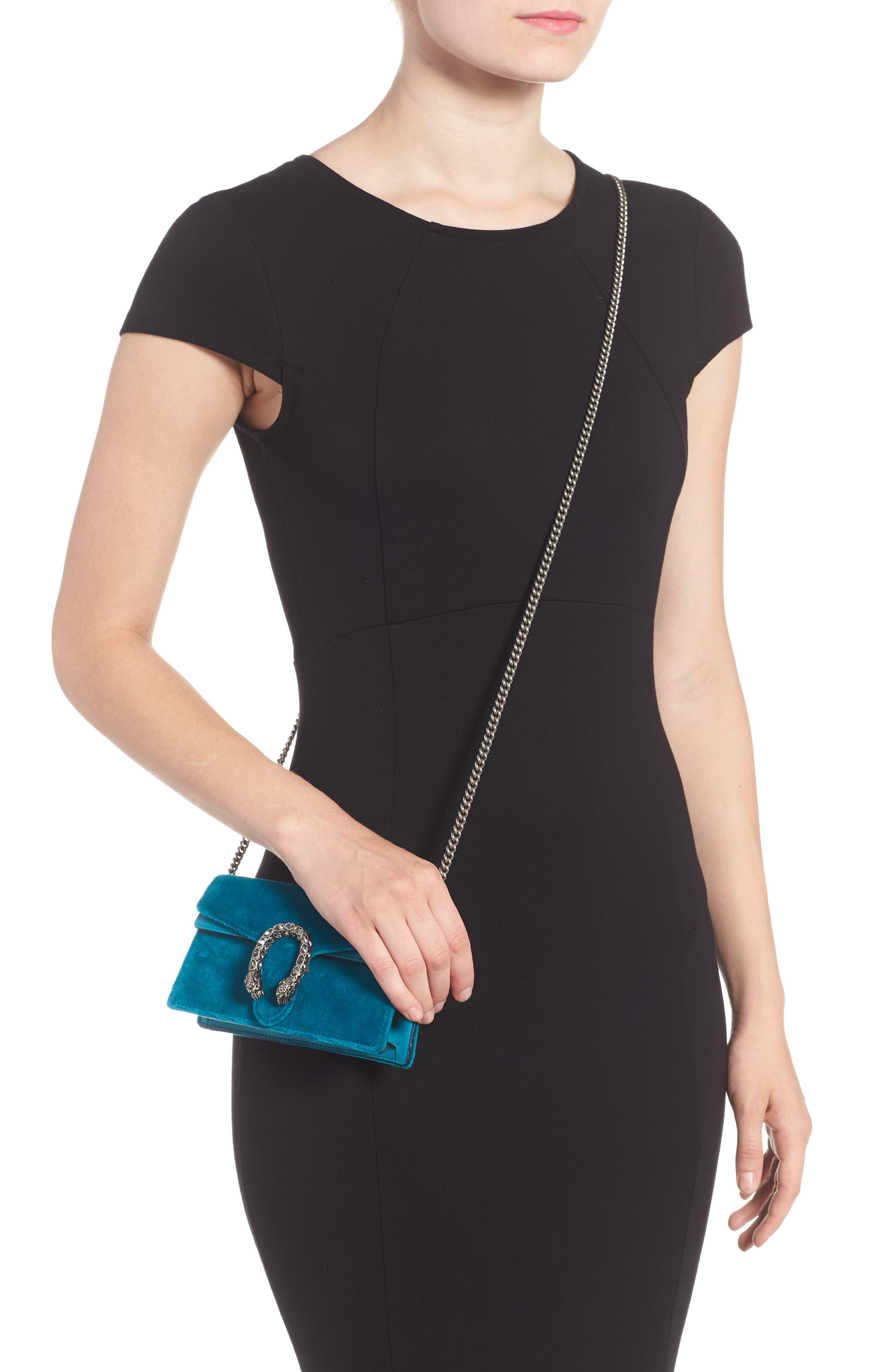 GUCCI, Super Mini Dionysus Velvet Shoulder Bag, Alternate thumbnail 2, color, PIVONE